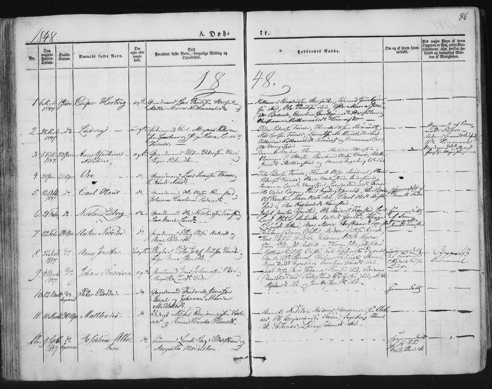 SAT, Ministerialprotokoller, klokkerbøker og fødselsregistre - Nord-Trøndelag, 784/L0669: Ministerialbok nr. 784A04, 1829-1859, s. 86