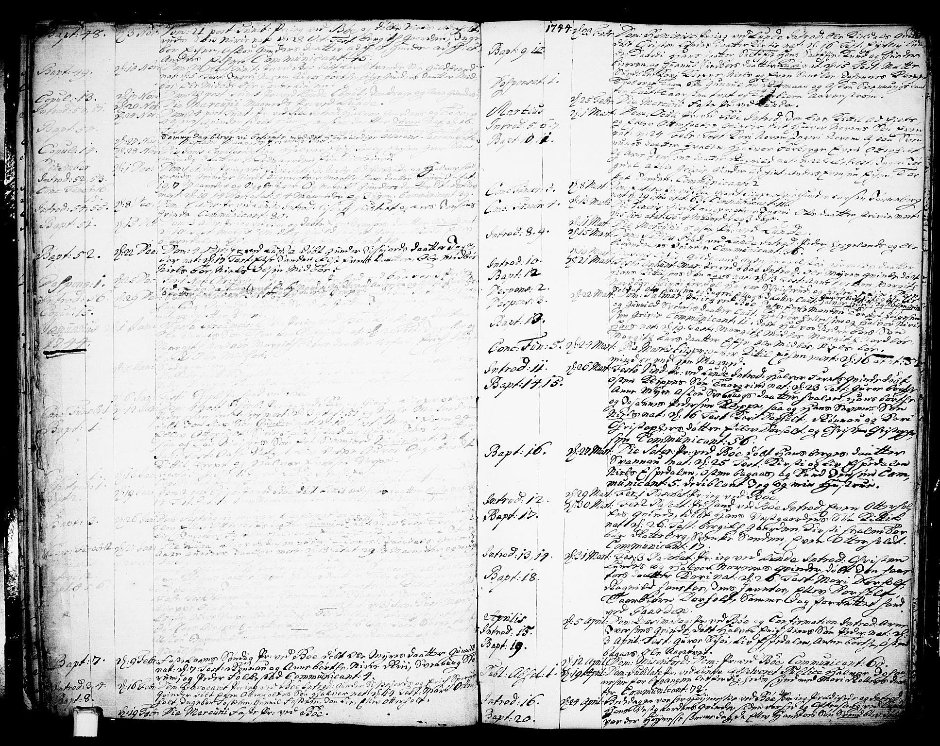 SAKO, Bø kirkebøker, F/Fa/L0003: Ministerialbok nr. 3, 1733-1748, s. 28