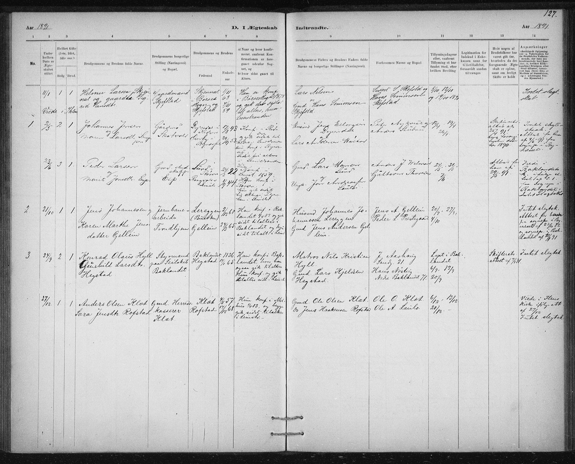 SAT, Ministerialprotokoller, klokkerbøker og fødselsregistre - Sør-Trøndelag, 613/L0392: Ministerialbok nr. 613A01, 1887-1906, s. 127
