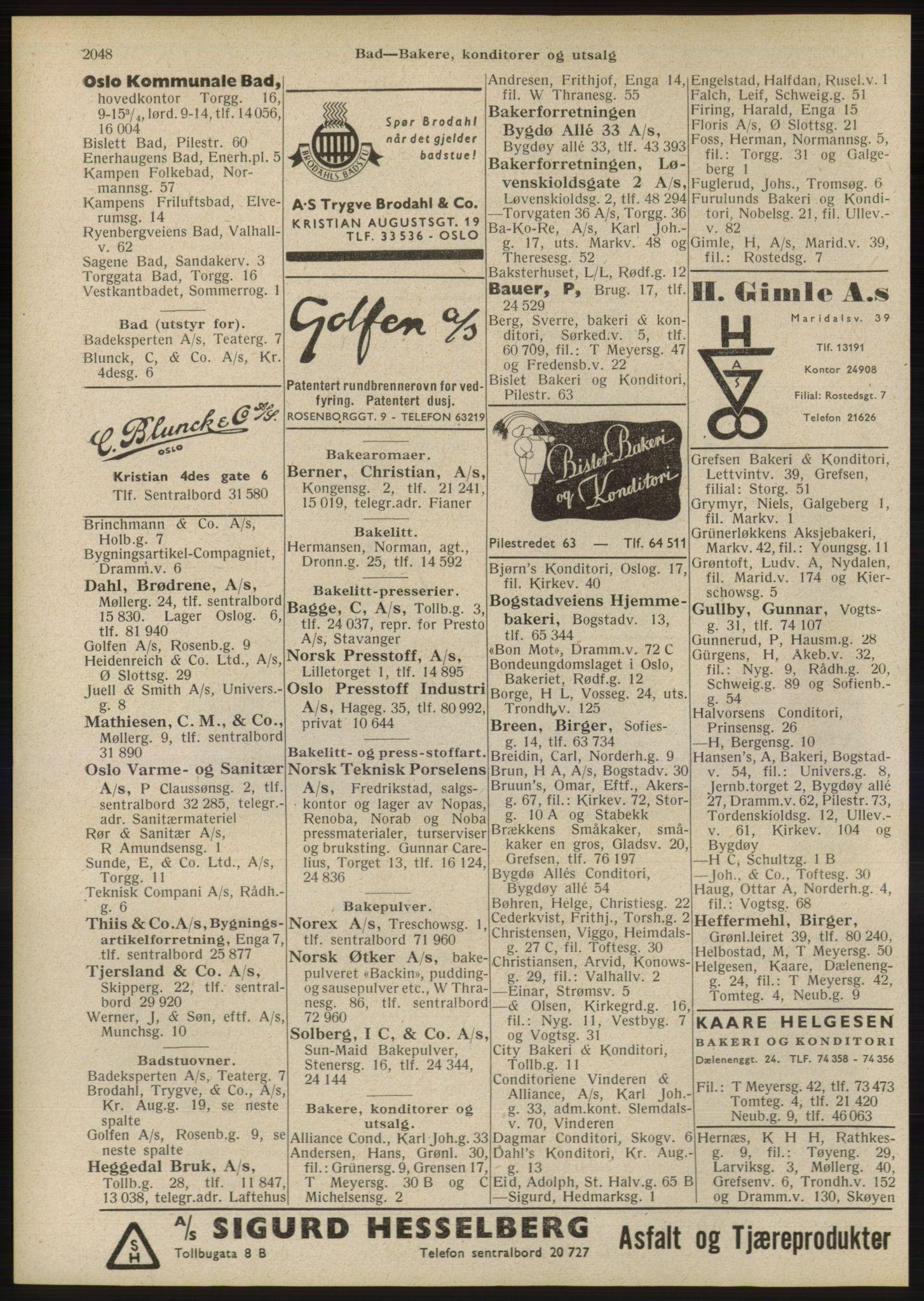 RA, Oslo adressebok (publikasjon)*, 1946, s. 2048