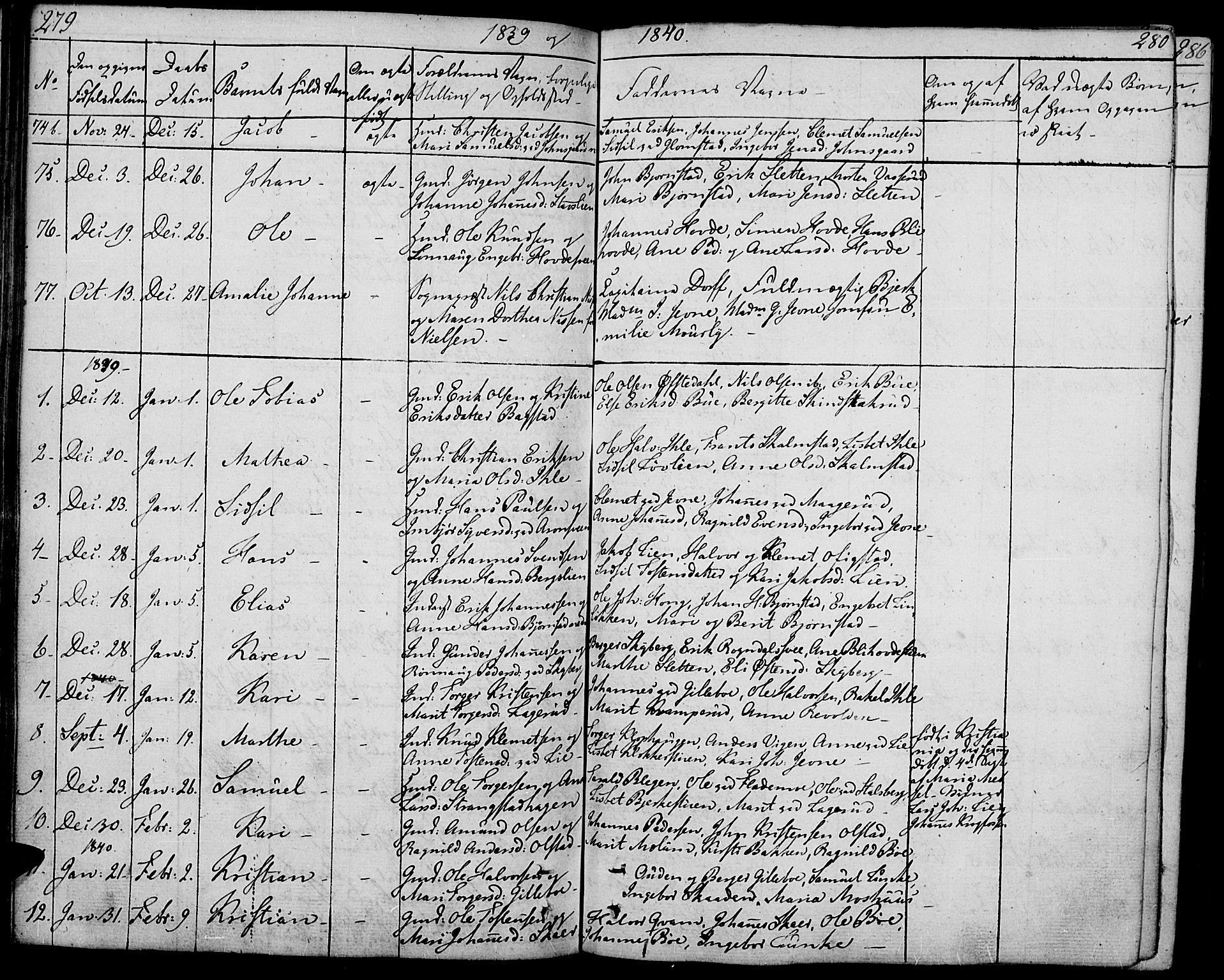 SAH, Øyer prestekontor, Ministerialbok nr. 4, 1824-1841, s. 279-280