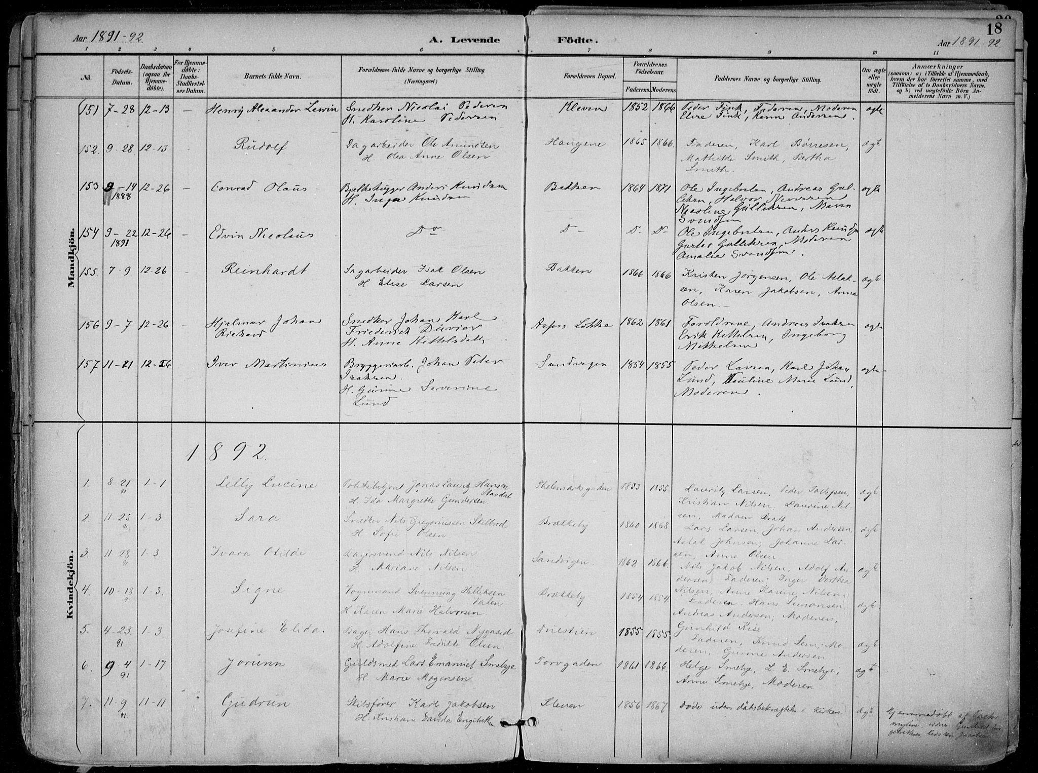 SAKO, Skien kirkebøker, F/Fa/L0010: Ministerialbok nr. 10, 1891-1899, s. 18