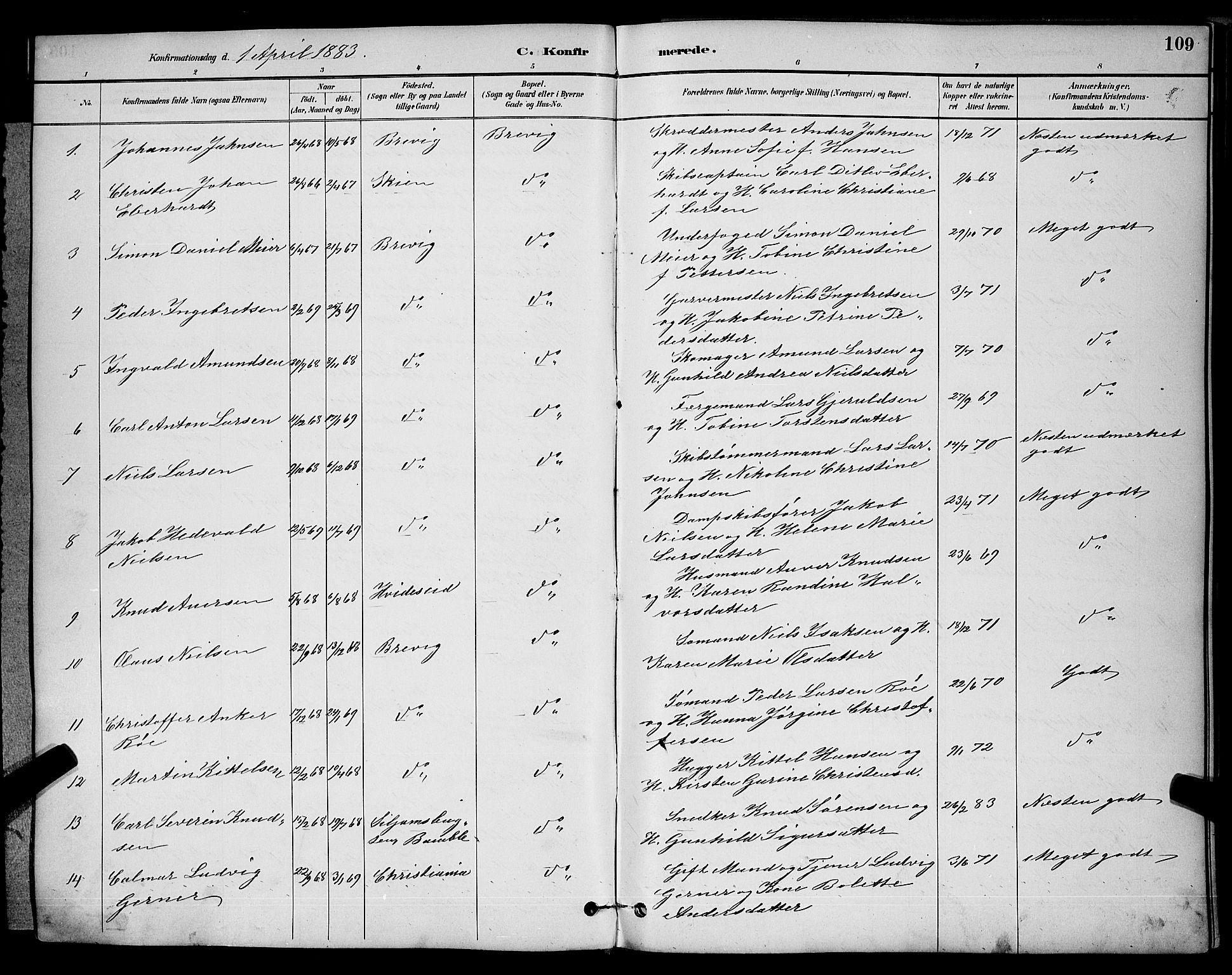 SAKO, Brevik kirkebøker, G/Ga/L0004: Klokkerbok nr. 4, 1882-1900, s. 109