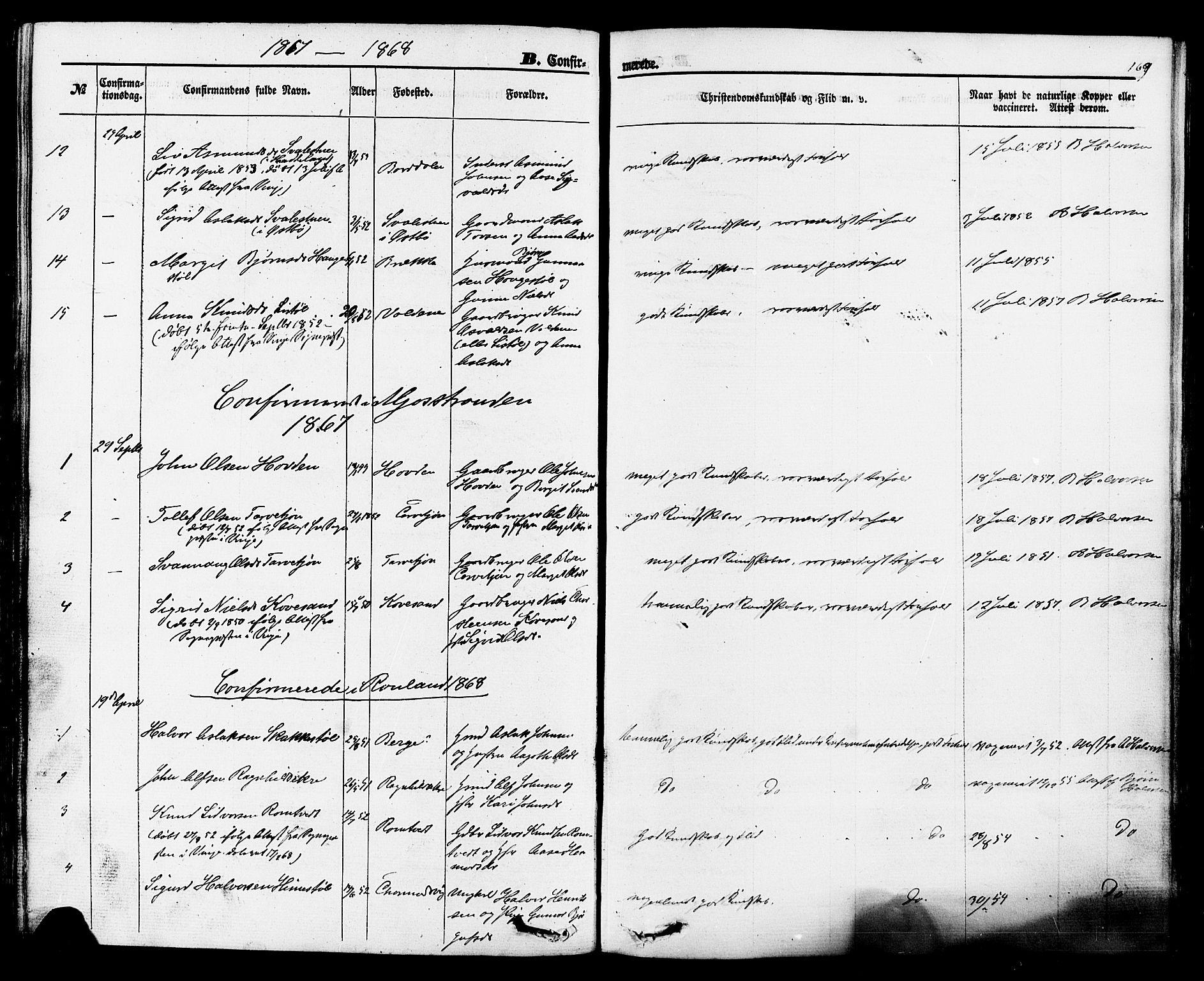 SAKO, Rauland kirkebøker, F/Fa/L0003: Ministerialbok nr. 3, 1859-1886, s. 169