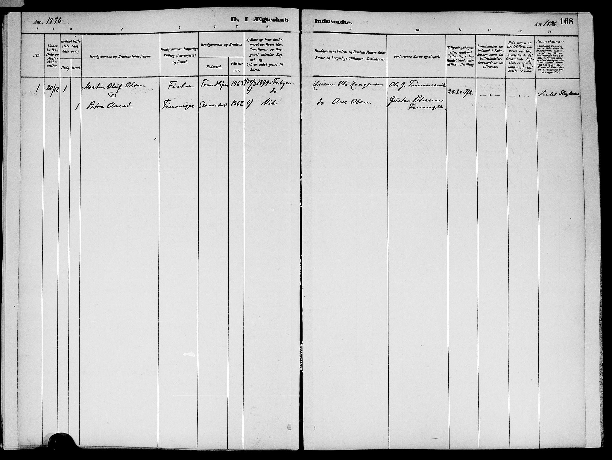 SAT, Ministerialprotokoller, klokkerbøker og fødselsregistre - Nord-Trøndelag, 773/L0617: Ministerialbok nr. 773A08, 1887-1910, s. 168