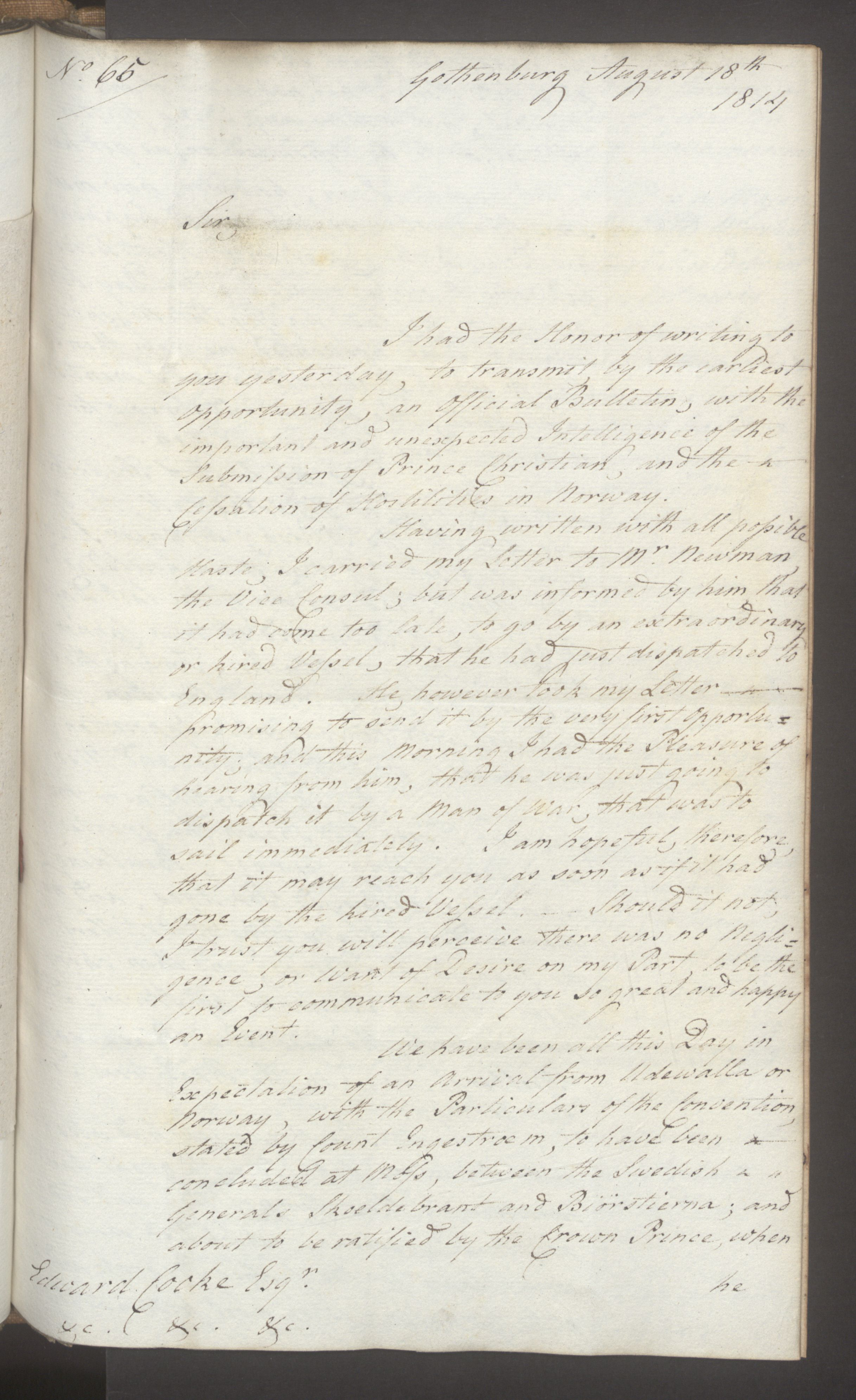 UKA, Foreign Office*, FO 38/16: Sir C. Gordon. Reports from Malmö, Jonkoping, and Helsingborg, 1814, s. 91