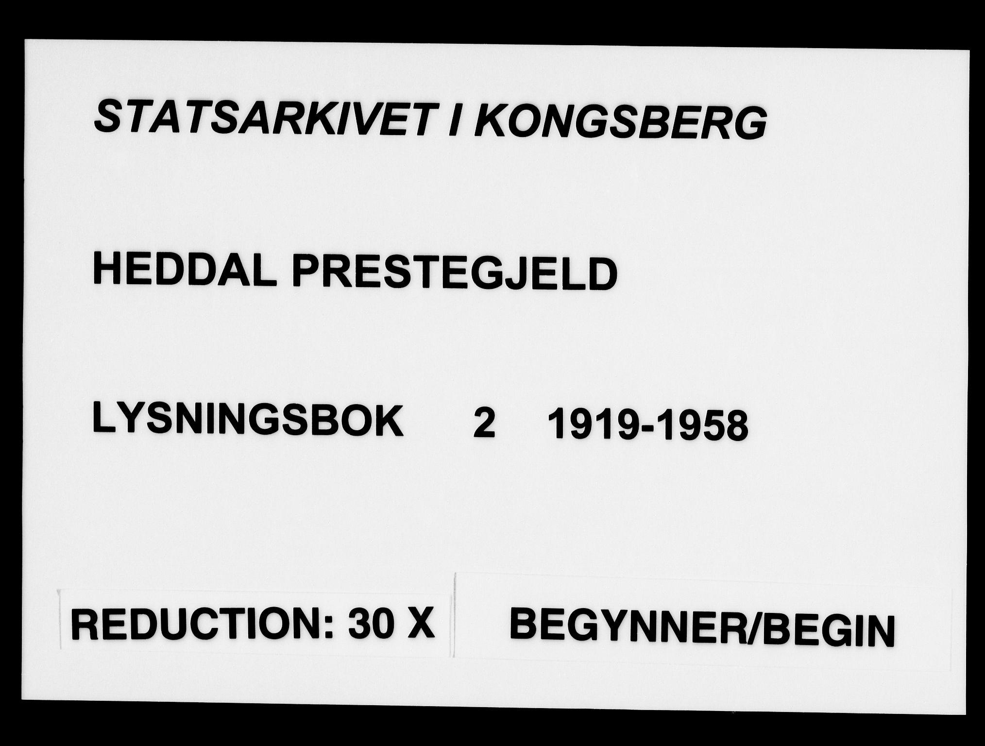 SAKO, Heddal kirkebøker, H/Ha/L0002: Lysningsprotokoll nr. 2, 1919-1958