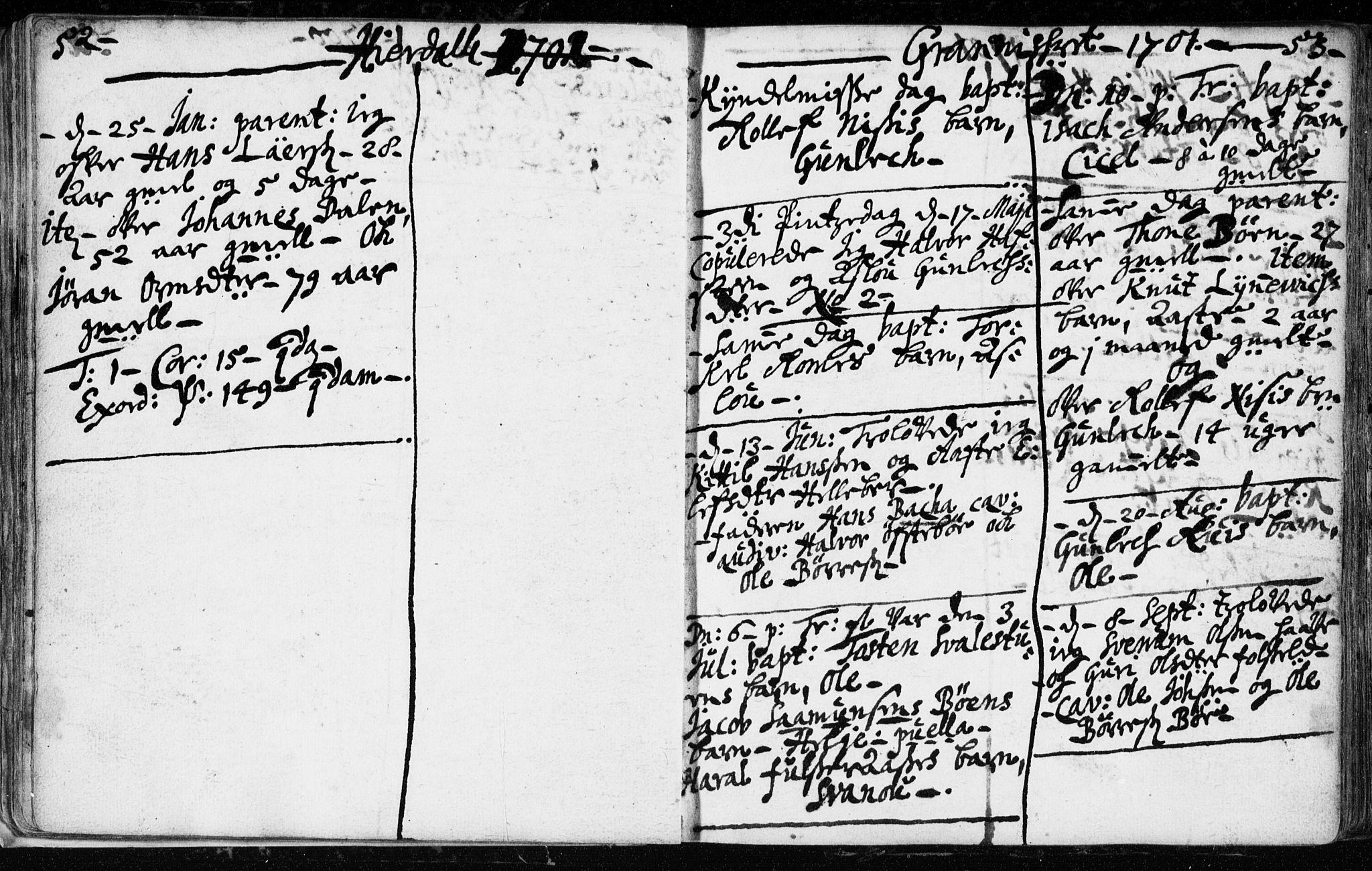 SAKO, Hjartdal kirkebøker, F/Fa/L0001: Ministerialbok nr. I 1, 1685-1714, s. 52-53