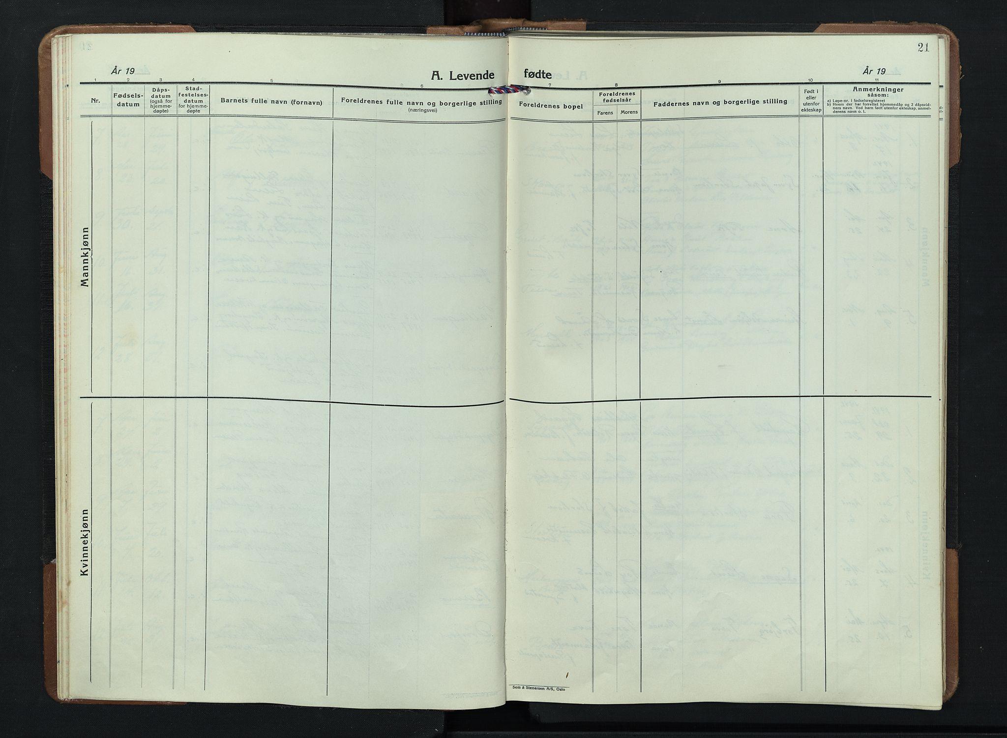 SAH, Skjåk prestekontor, Klokkerbok nr. 7, 1936-1958, s. 21