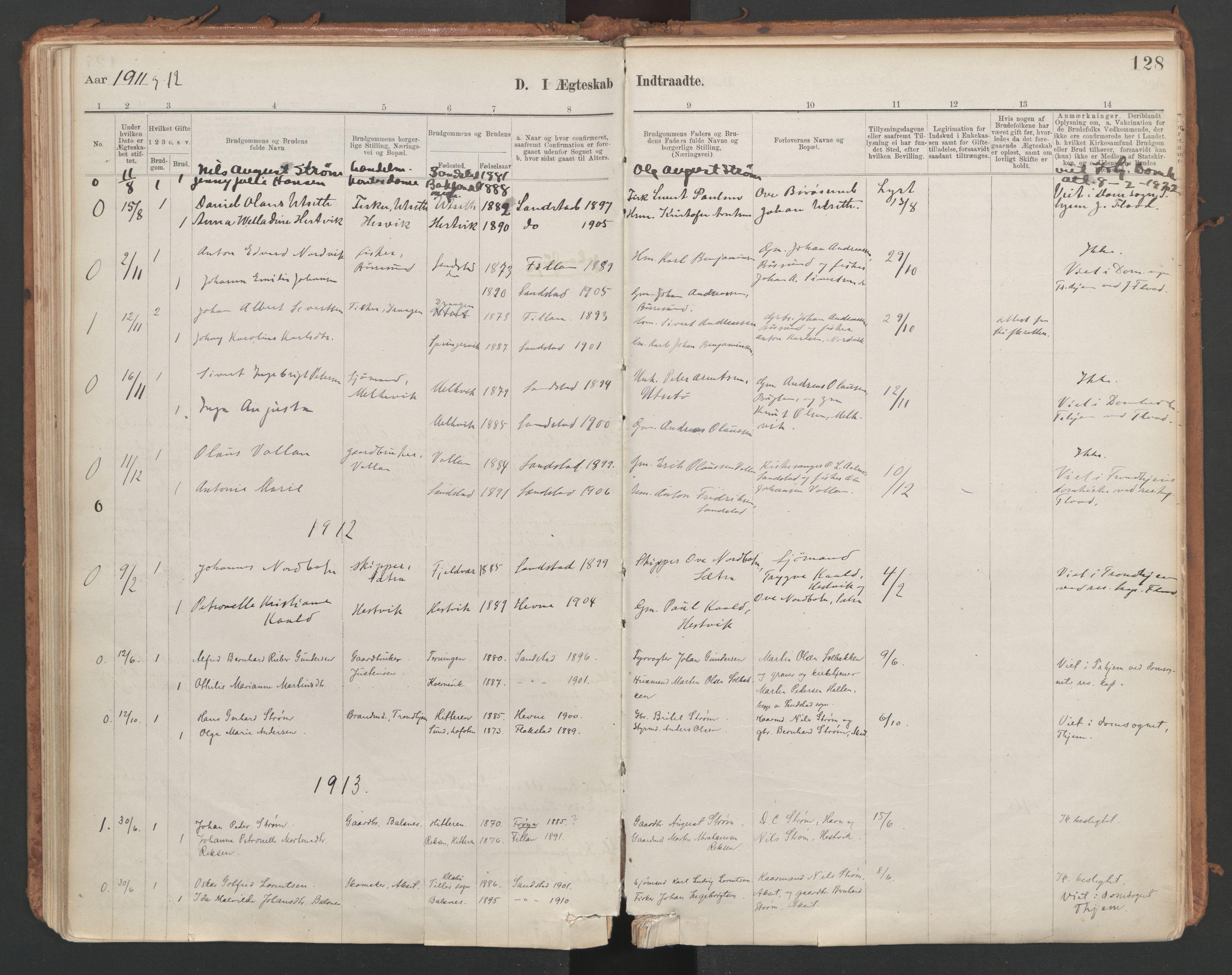 SAT, Ministerialprotokoller, klokkerbøker og fødselsregistre - Sør-Trøndelag, 639/L0572: Ministerialbok nr. 639A01, 1890-1920, s. 128