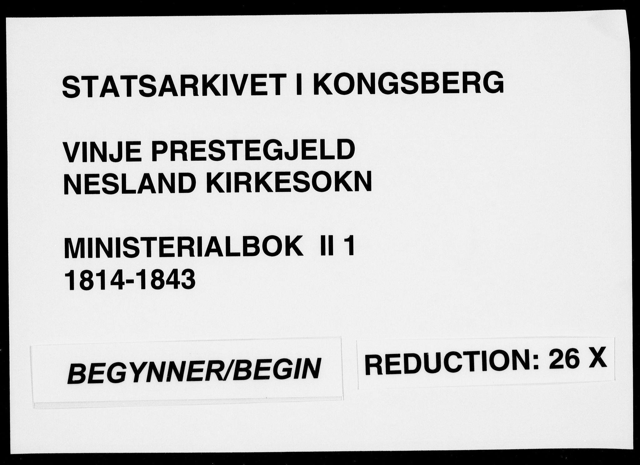SAKO, Vinje kirkebøker, F/Fb/L0001: Ministerialbok nr. II 1, 1814-1843