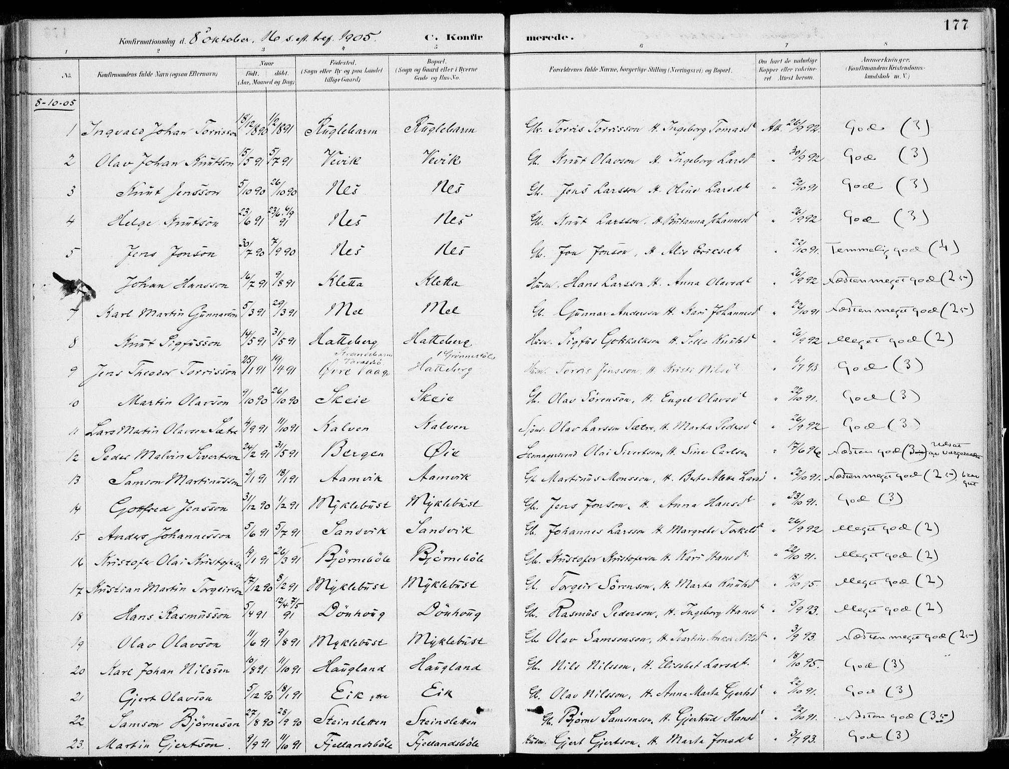 SAB, Kvinnherad Sokneprestembete, H/Haa: Ministerialbok nr. B  1, 1887-1921, s. 177