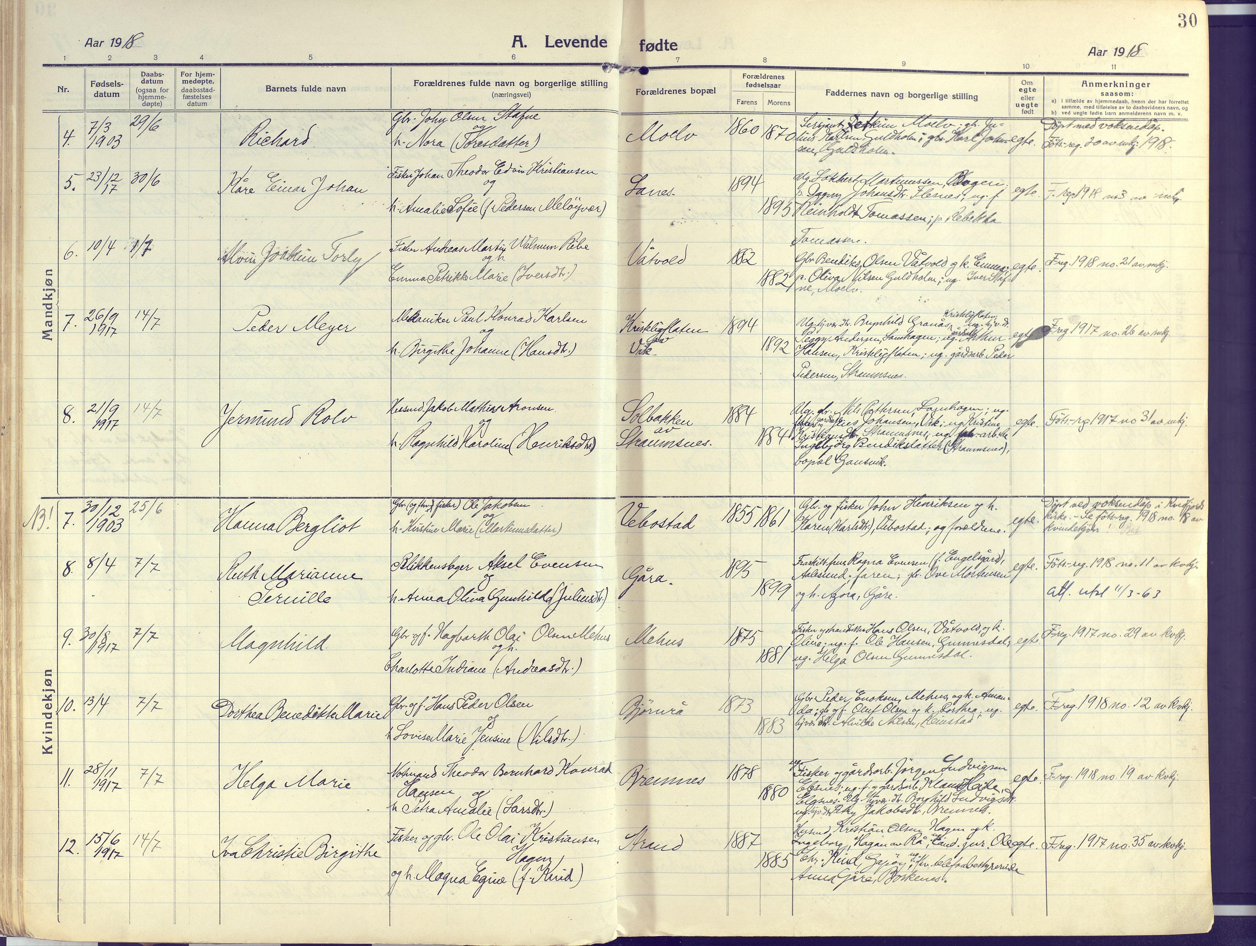SATØ, Kvæfjord sokneprestkontor, G/Ga/Gaa/L0007kirke: Ministerialbok nr. 7, 1915-1931, s. 30