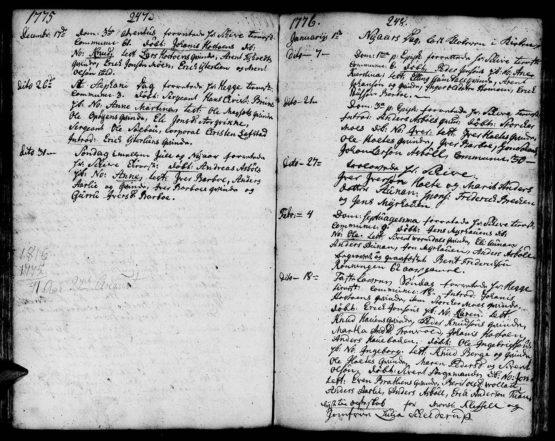 SAT, Ministerialprotokoller, klokkerbøker og fødselsregistre - Sør-Trøndelag, 671/L0840: Ministerialbok nr. 671A02, 1756-1794, s. 247-248