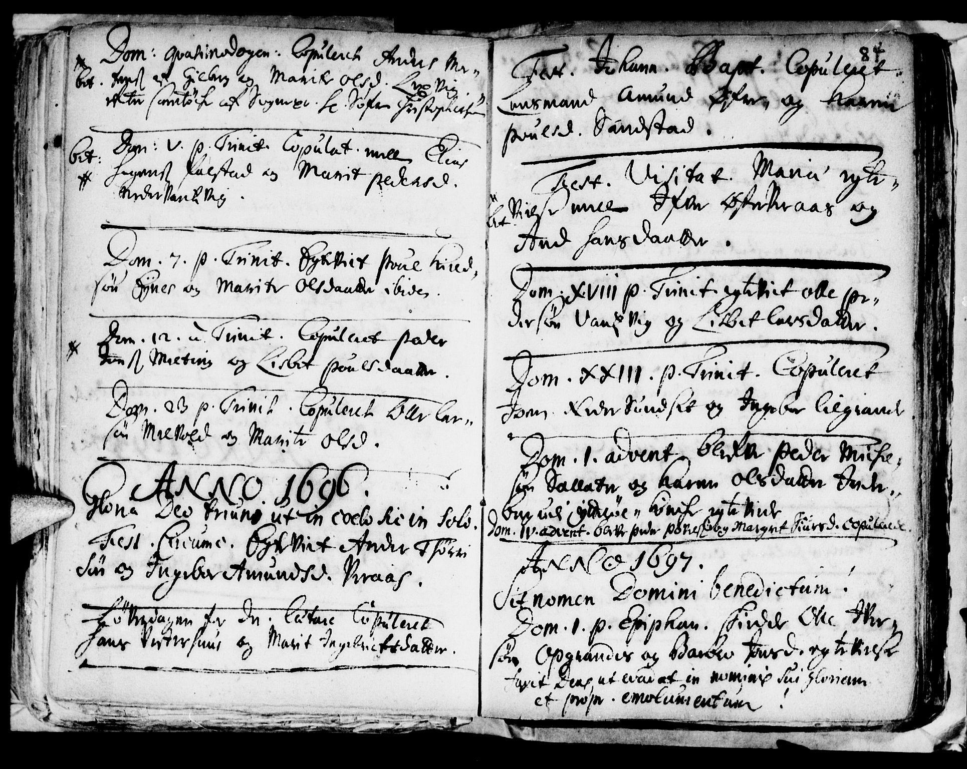 SAT, Ministerialprotokoller, klokkerbøker og fødselsregistre - Nord-Trøndelag, 722/L0214: Ministerialbok nr. 722A01, 1692-1718, s. 84