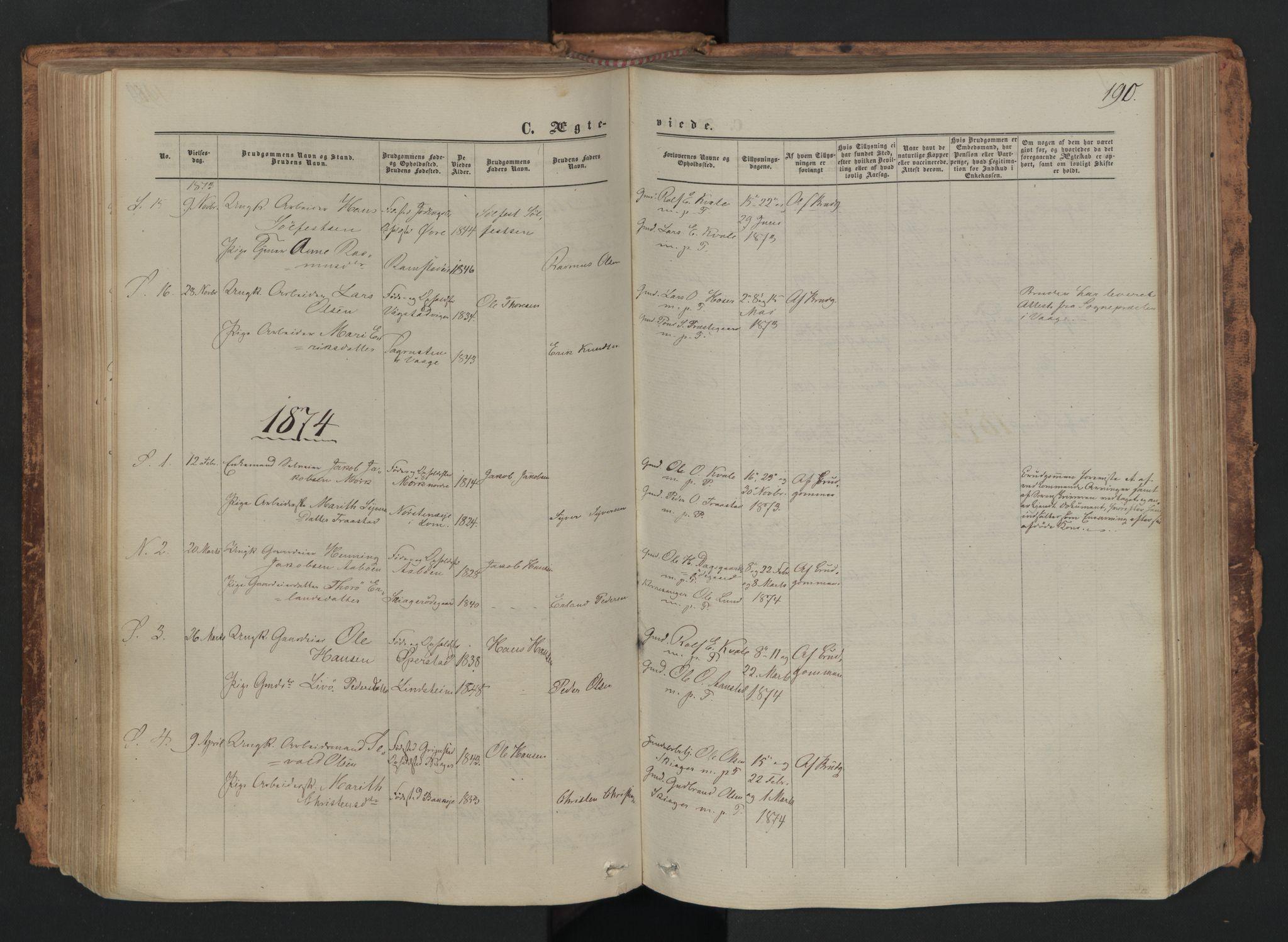 SAH, Skjåk prestekontor, Ministerialbok nr. 1, 1863-1879, s. 190