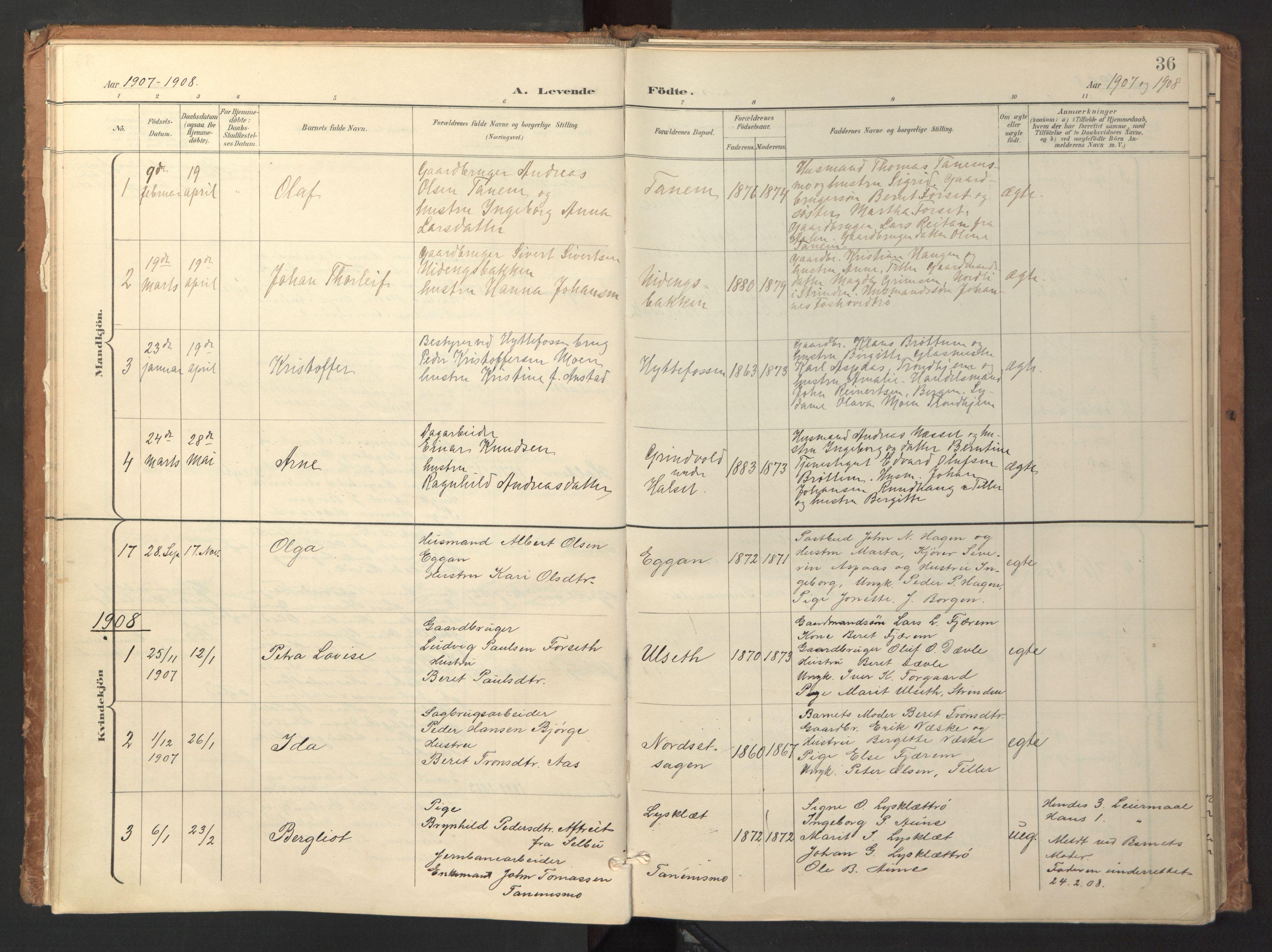 SAT, Ministerialprotokoller, klokkerbøker og fødselsregistre - Sør-Trøndelag, 618/L0448: Ministerialbok nr. 618A11, 1898-1916, s. 36