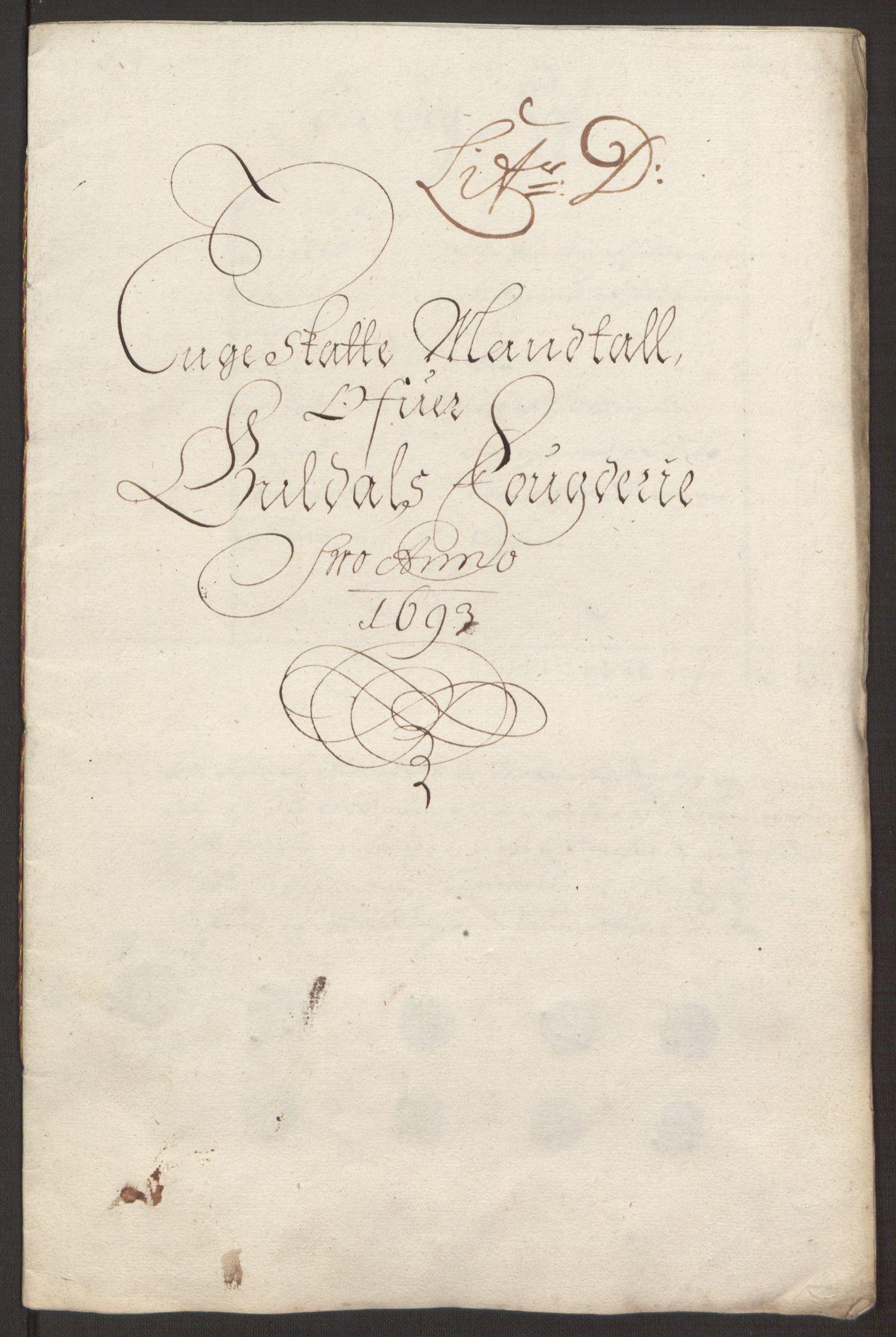RA, Rentekammeret inntil 1814, Reviderte regnskaper, Fogderegnskap, R59/L3943: Fogderegnskap Gauldal, 1693, s. 80