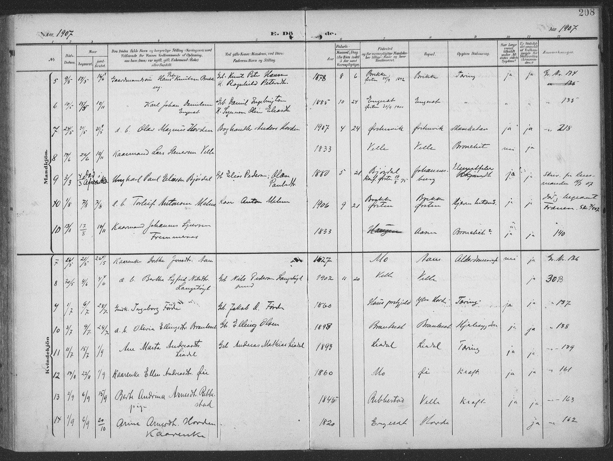 SAT, Ministerialprotokoller, klokkerbøker og fødselsregistre - Møre og Romsdal, 513/L0178: Ministerialbok nr. 513A05, 1906-1919, s. 208