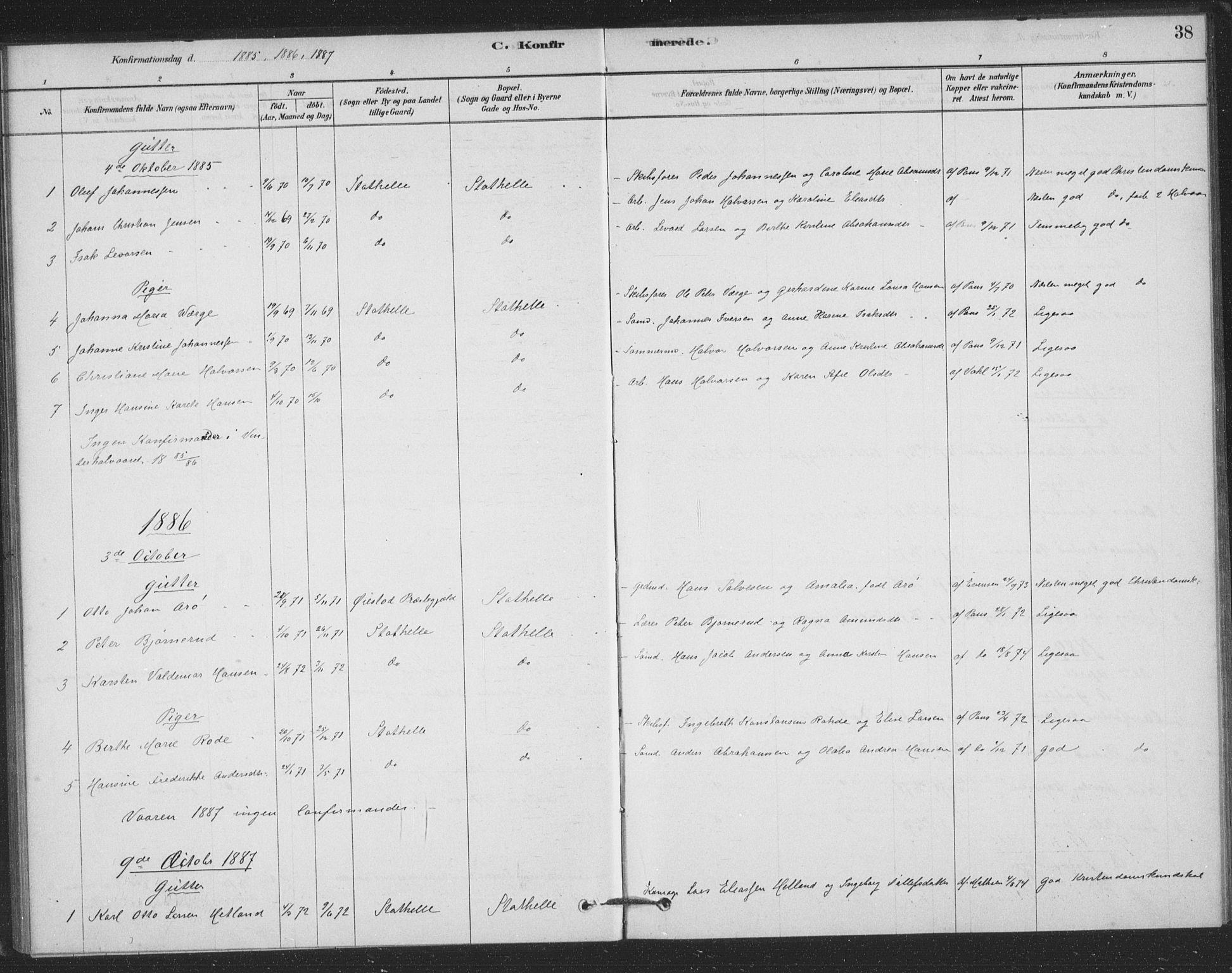 SAKO, Bamble kirkebøker, F/Fb/L0001: Ministerialbok nr. II 1, 1878-1899, s. 38