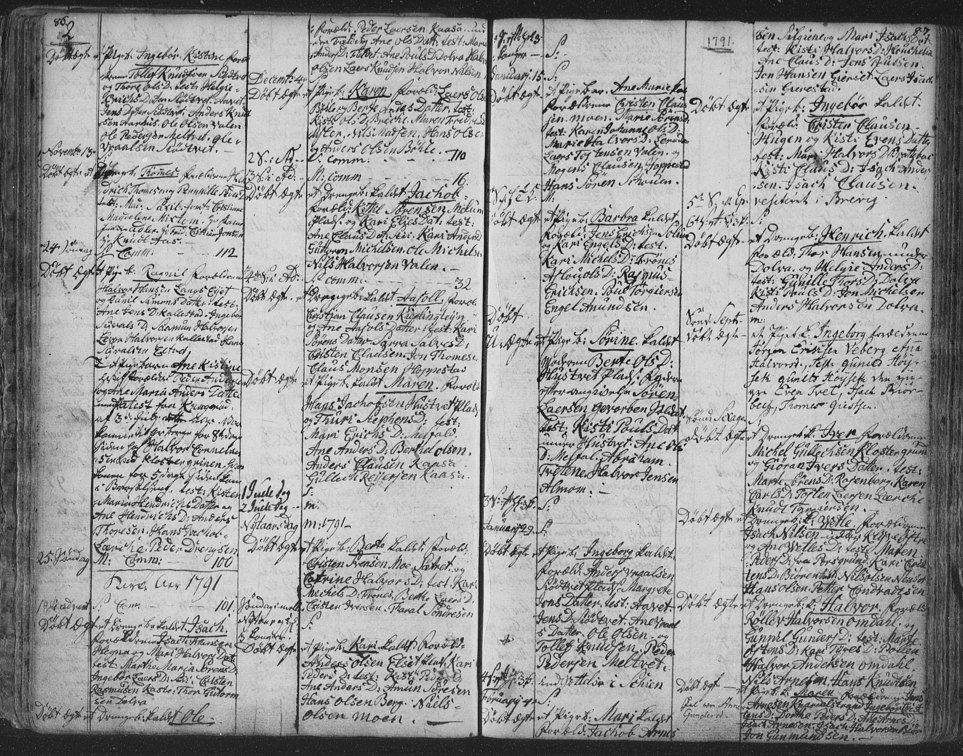 SAKO, Solum kirkebøker, F/Fa/L0003: Ministerialbok nr. I 3, 1761-1814, s. 86-87