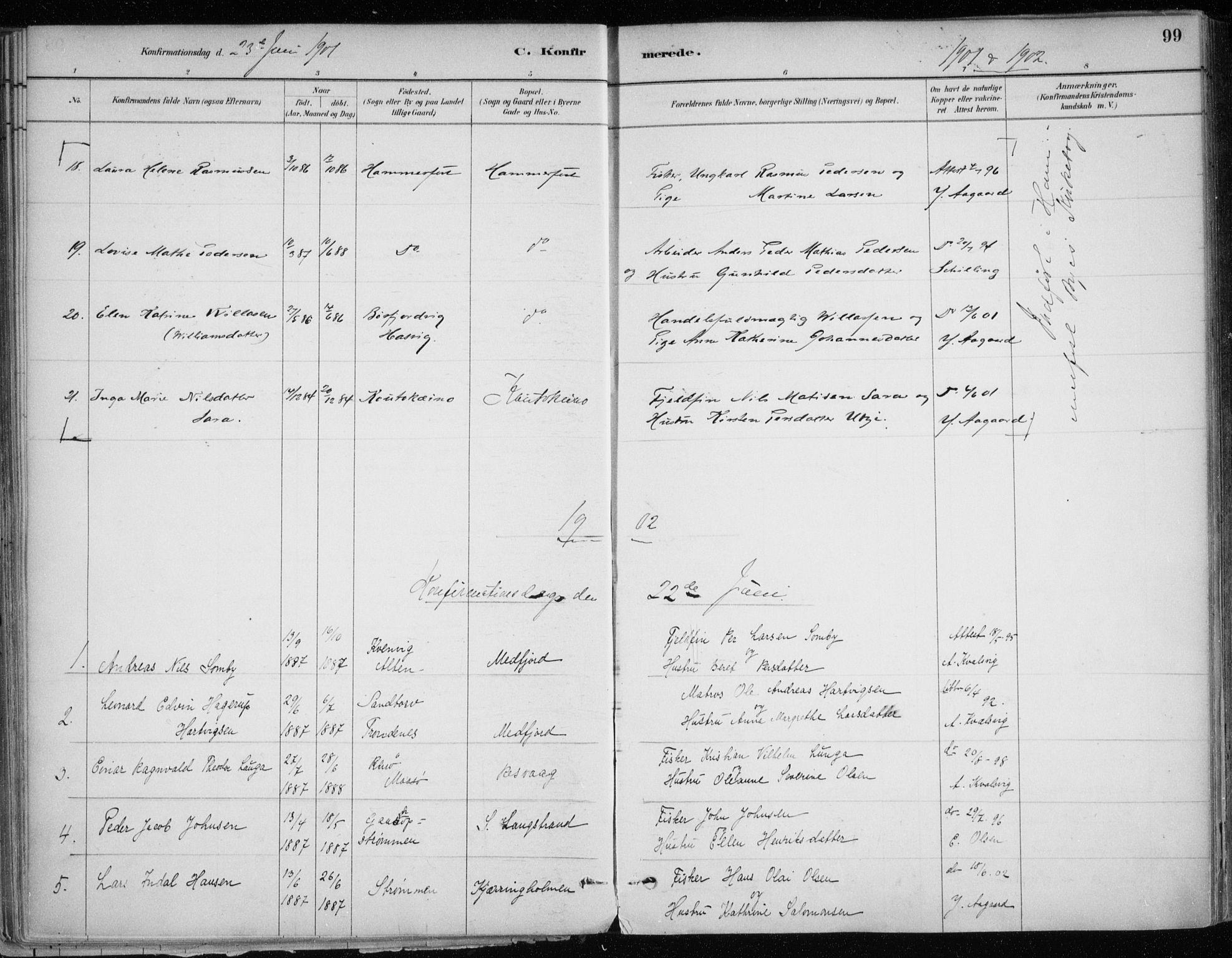 SATØ, Hammerfest sokneprestkontor, H/Ha/L0013.kirke: Ministerialbok nr. 13, 1898-1917, s. 99