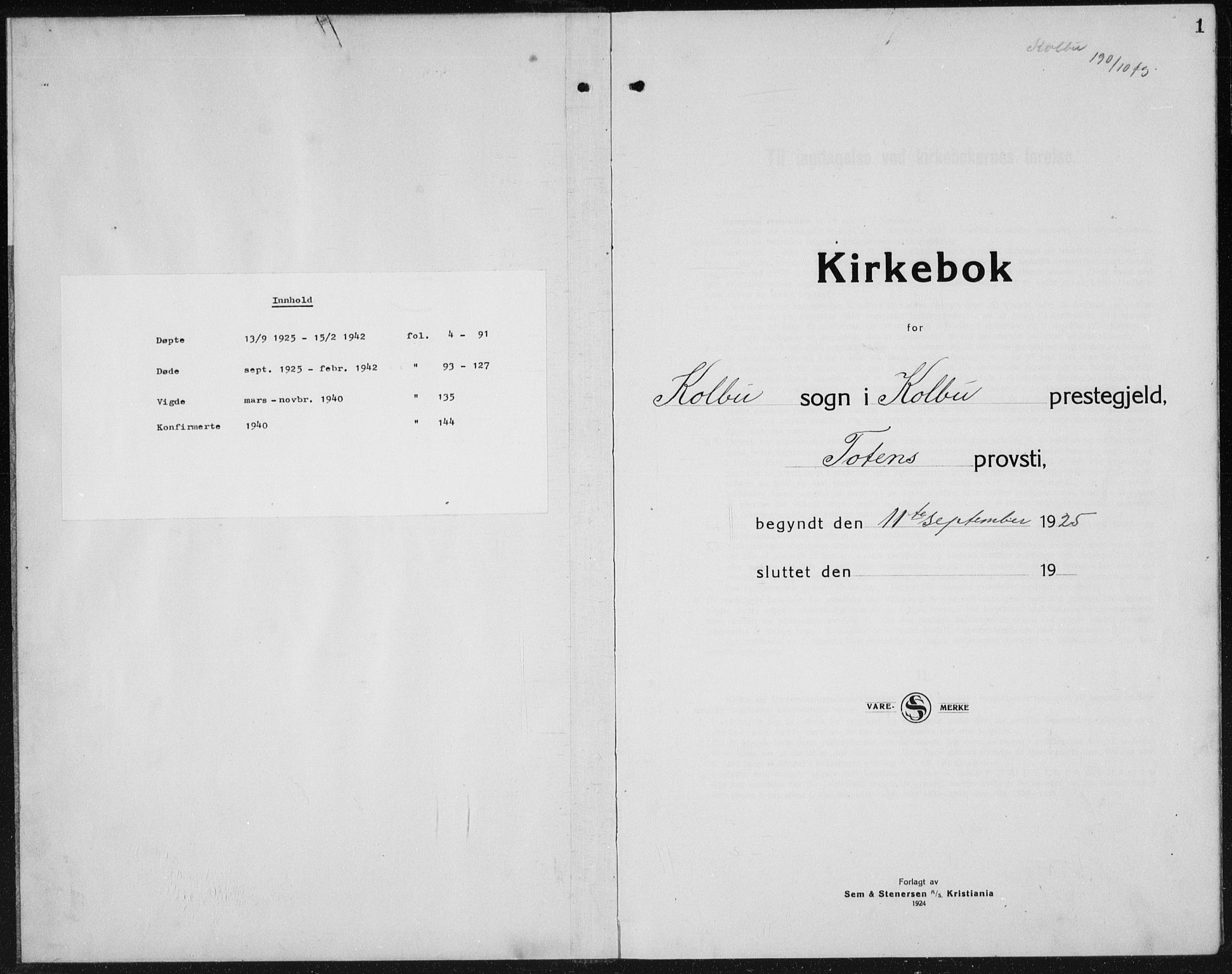 SAH, Kolbu prestekontor, Klokkerbok nr. 2, 1925-1942, s. 1