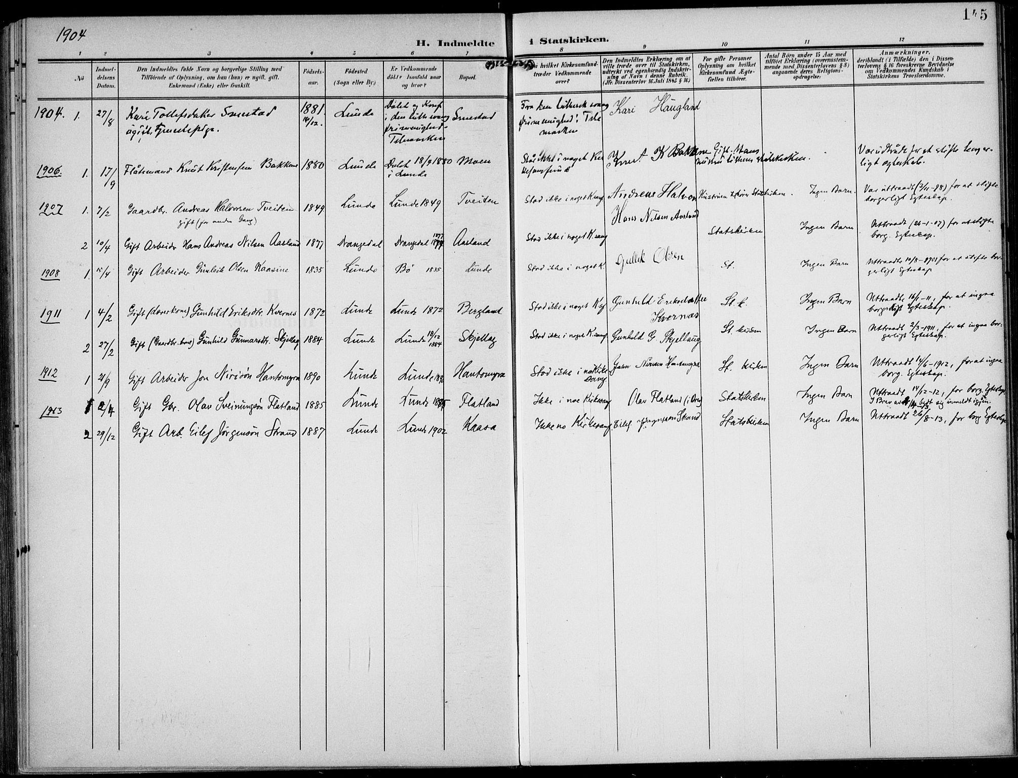 SAKO, Lunde kirkebøker, F/Fa/L0004: Ministerialbok nr. I 4, 1902-1913, s. 145