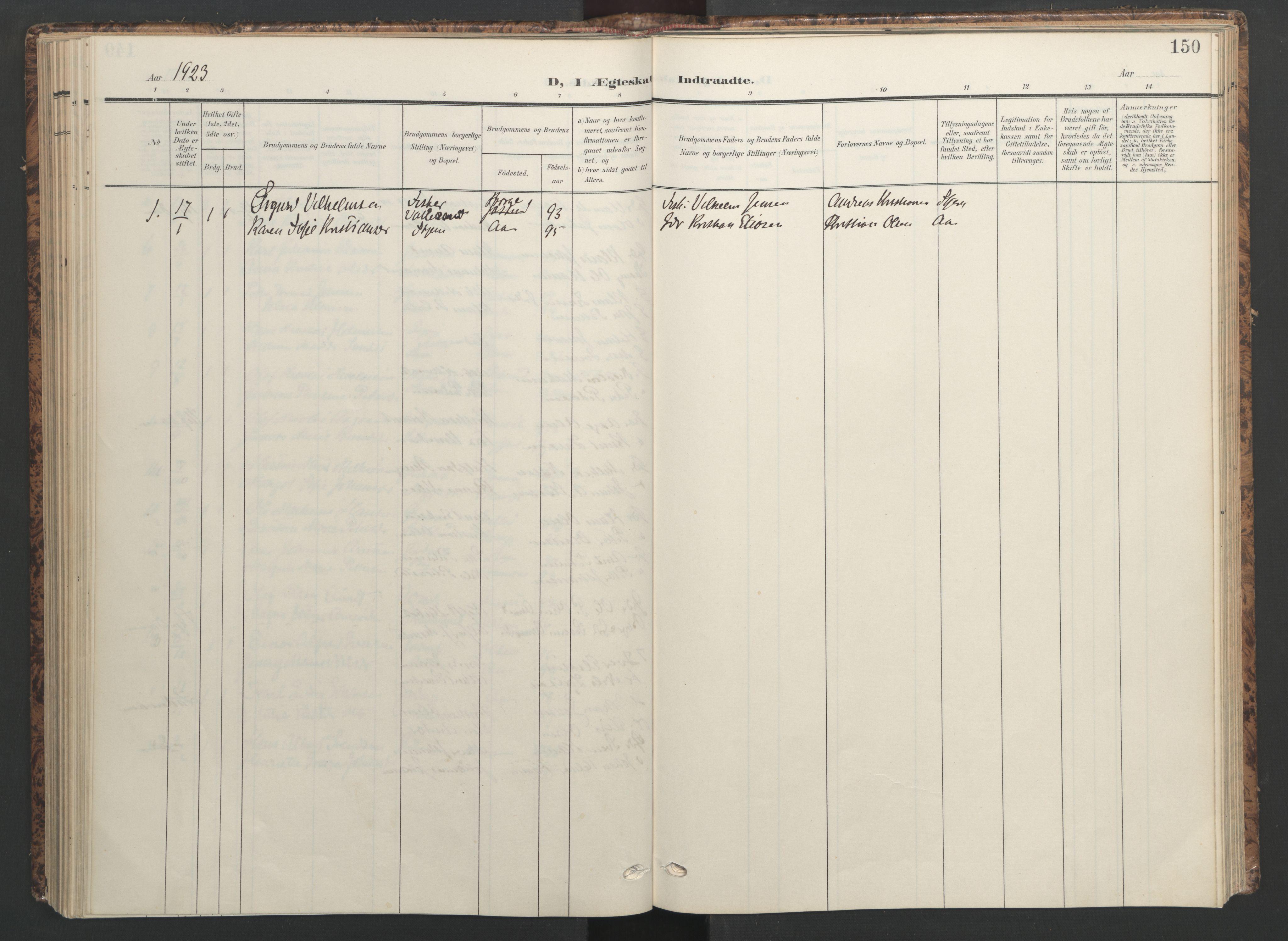 SAT, Ministerialprotokoller, klokkerbøker og fødselsregistre - Sør-Trøndelag, 655/L0682: Ministerialbok nr. 655A11, 1908-1922, s. 150