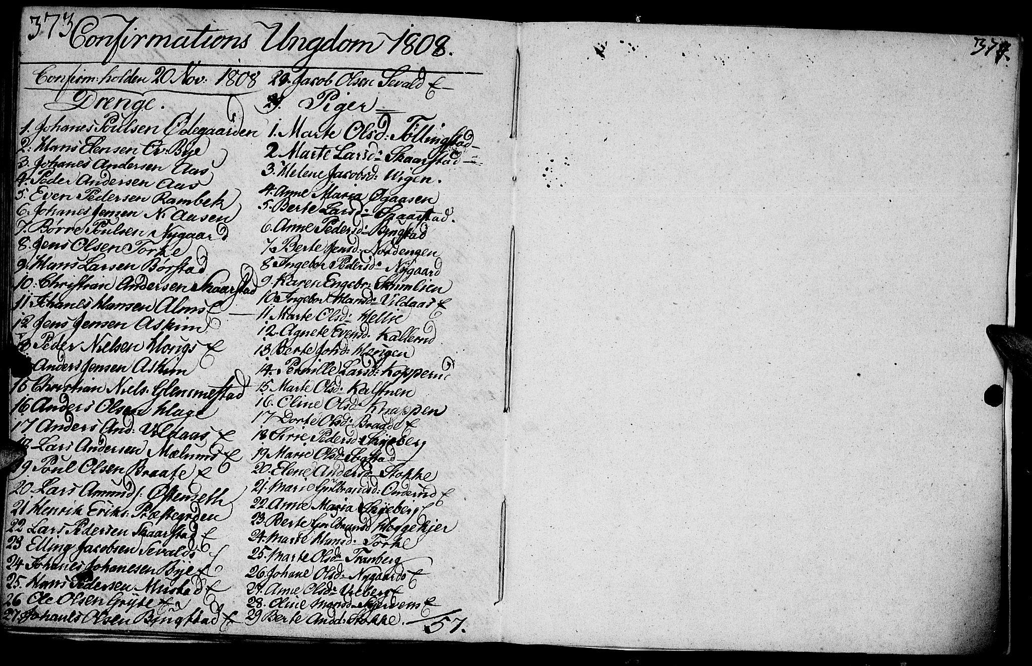 SAH, Vardal prestekontor, H/Ha/Hab/L0003: Klokkerbok nr. 3, 1803-1808, s. 373-374