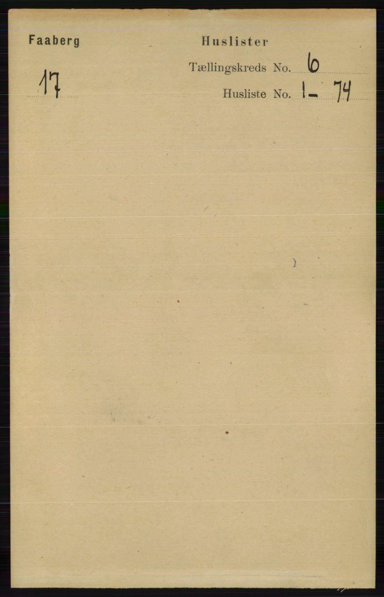 RA, Folketelling 1891 for 0524 Fåberg herred, 1891, s. 2140
