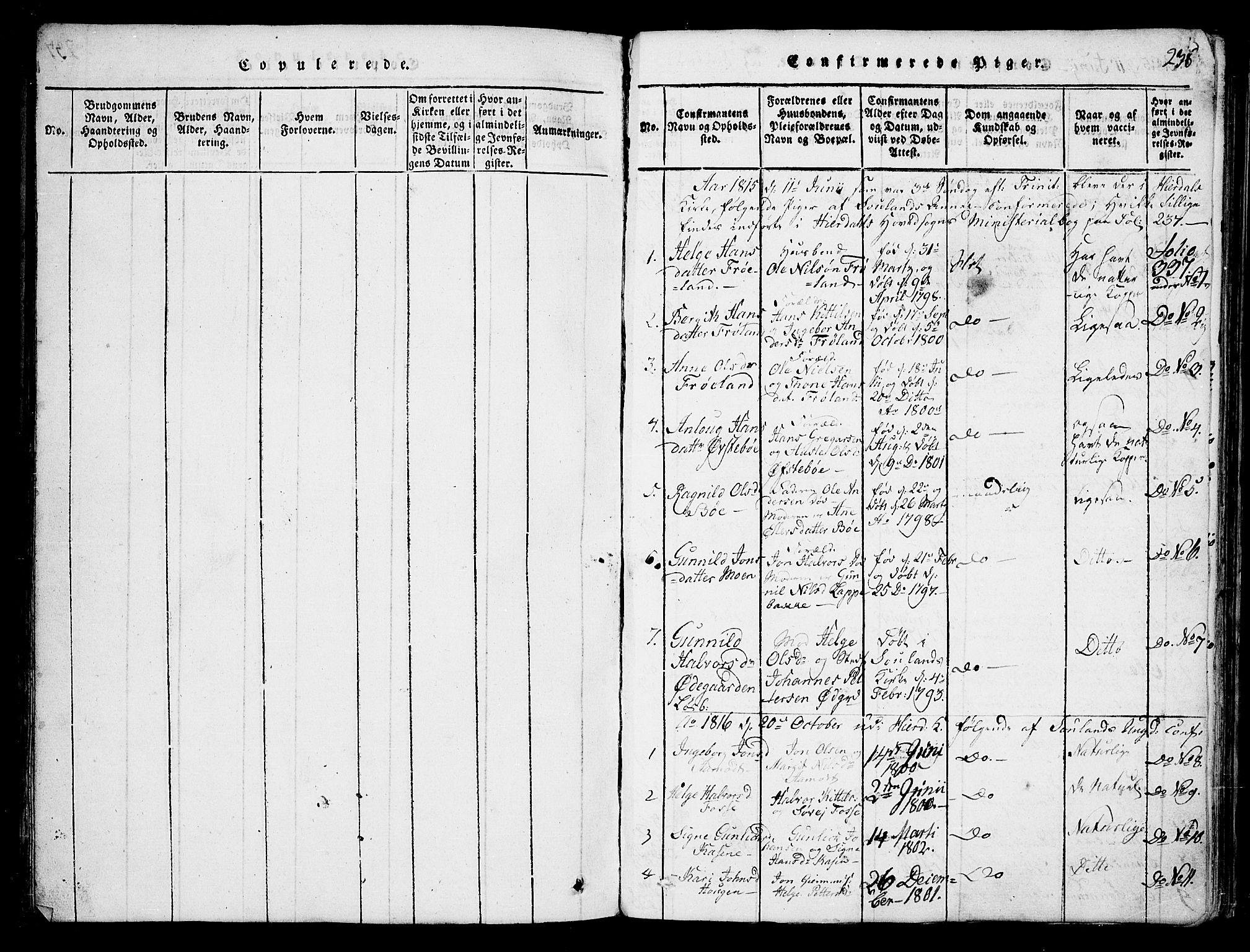 SAKO, Hjartdal kirkebøker, F/Fb/L0001: Ministerialbok nr. II 1, 1815-1843, s. 238
