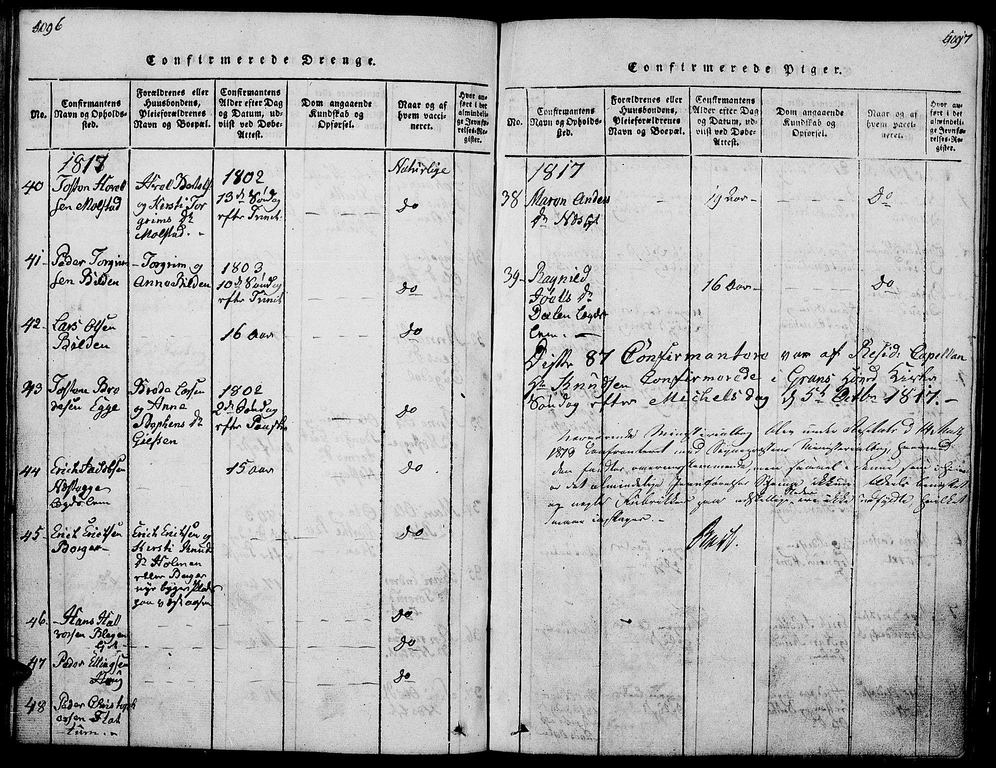 SAH, Gran prestekontor, Klokkerbok nr. 1, 1815-1824, s. 496-497