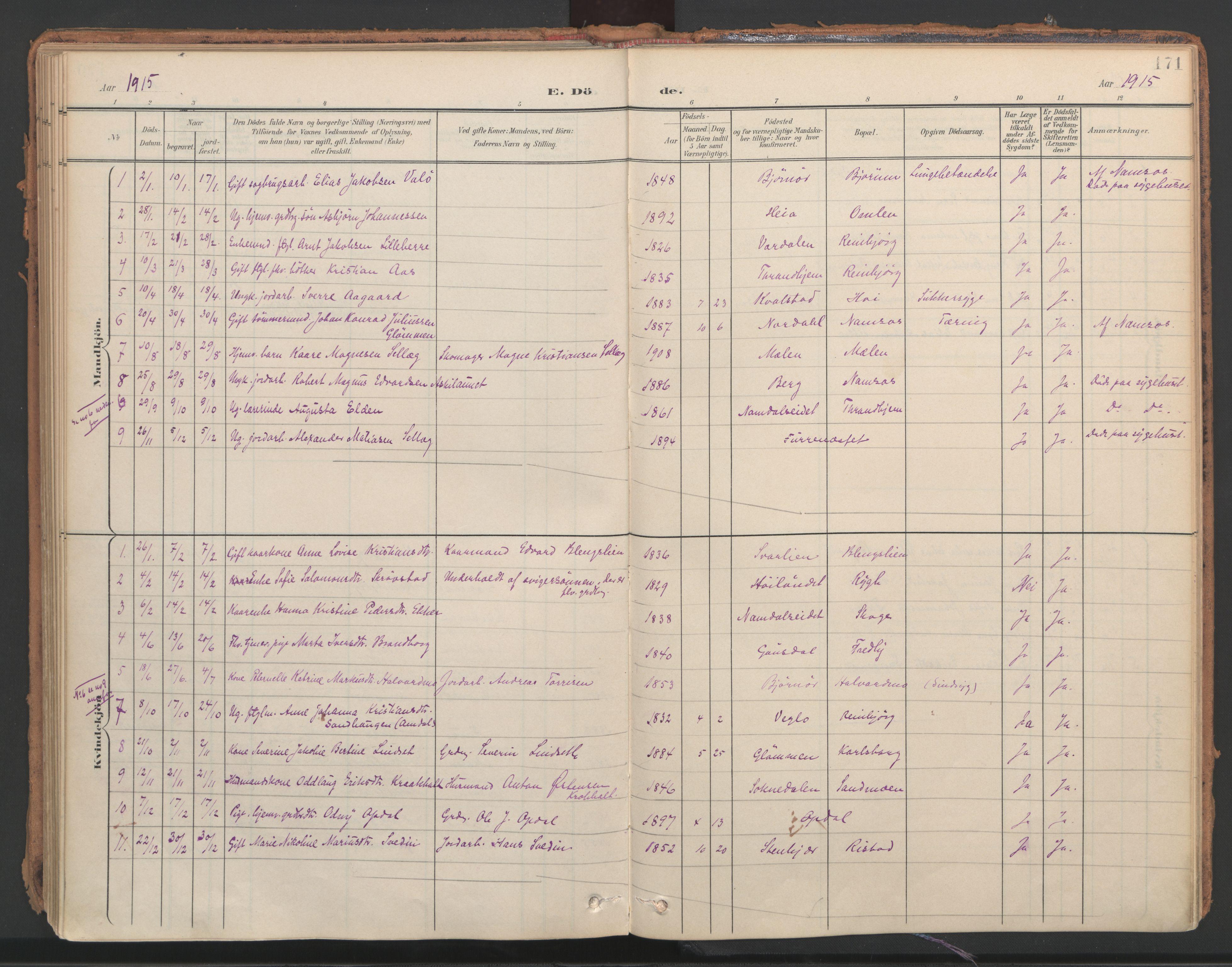 SAT, Ministerialprotokoller, klokkerbøker og fødselsregistre - Nord-Trøndelag, 766/L0564: Ministerialbok nr. 767A02, 1900-1932, s. 171