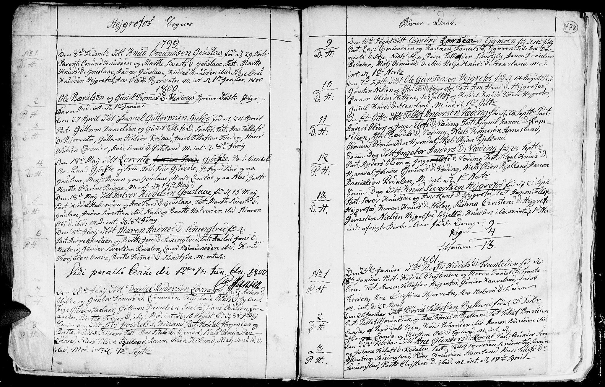 SAK, Hommedal sokneprestkontor, F/Fa/Fab/L0002: Ministerialbok nr. A 2 /3, 1740-1821, s. 478