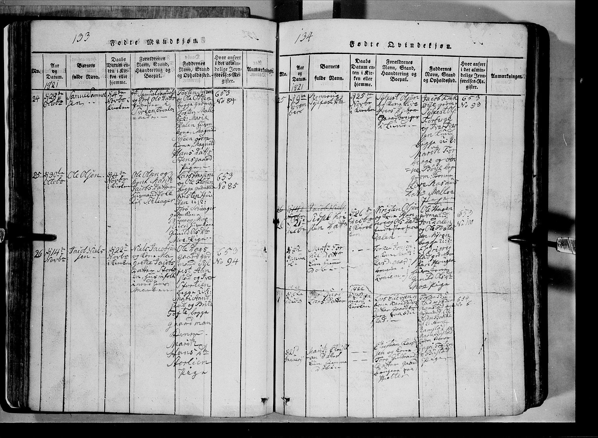 SAH, Lom prestekontor, L/L0003: Klokkerbok nr. 3, 1815-1844, s. 133-134