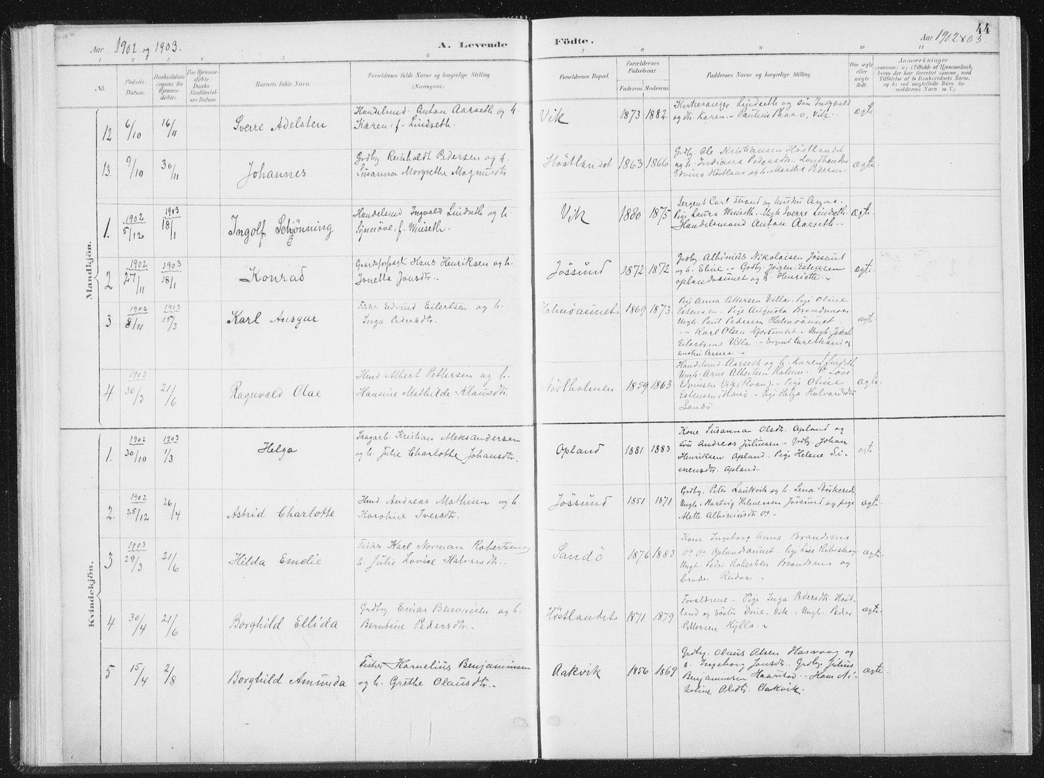 SAT, Ministerialprotokoller, klokkerbøker og fødselsregistre - Nord-Trøndelag, 771/L0597: Ministerialbok nr. 771A04, 1885-1910, s. 44