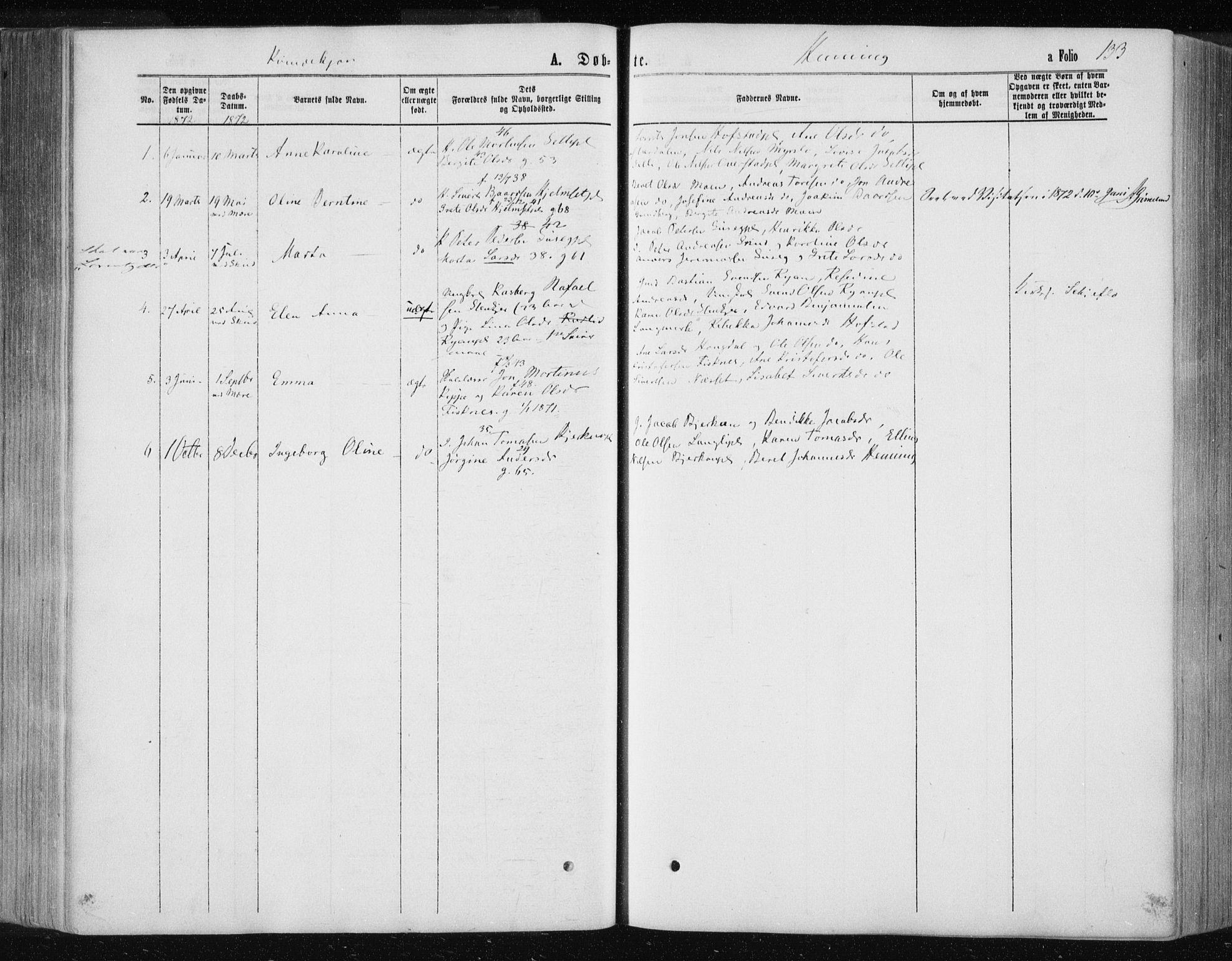 SAT, Ministerialprotokoller, klokkerbøker og fødselsregistre - Nord-Trøndelag, 735/L0345: Ministerialbok nr. 735A08 /3, 1863-1872, s. 133