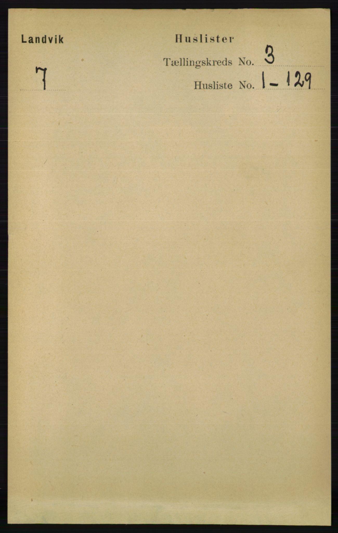 RA, Folketelling 1891 for 0924 Landvik herred, 1891, s. 866