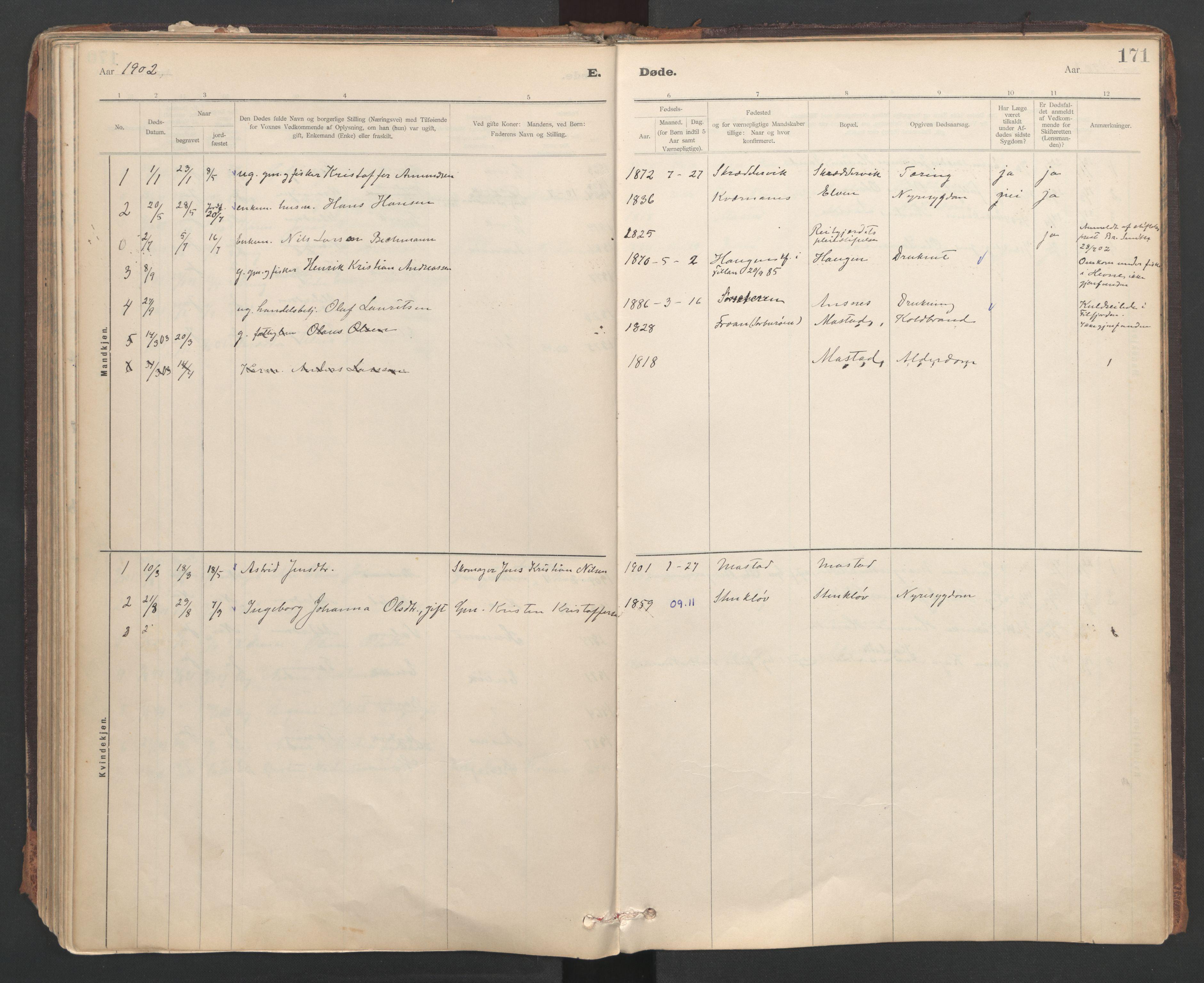 SAT, Ministerialprotokoller, klokkerbøker og fødselsregistre - Sør-Trøndelag, 637/L0559: Ministerialbok nr. 637A02, 1899-1923, s. 171