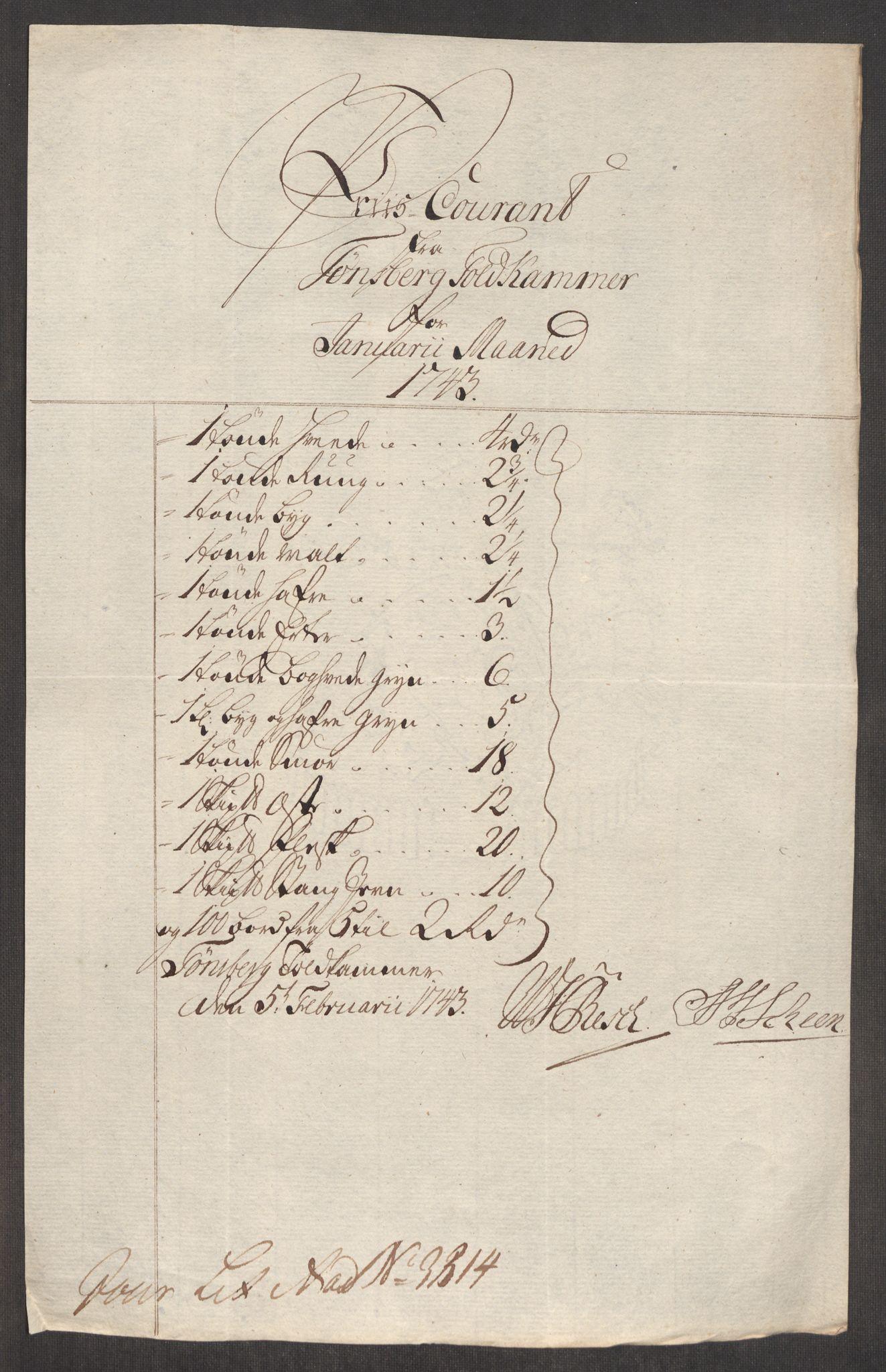 RA, Rentekammeret inntil 1814, Realistisk ordnet avdeling, Oe/L0002: [Ø1]: Priskuranter, 1740-1744, s. 698