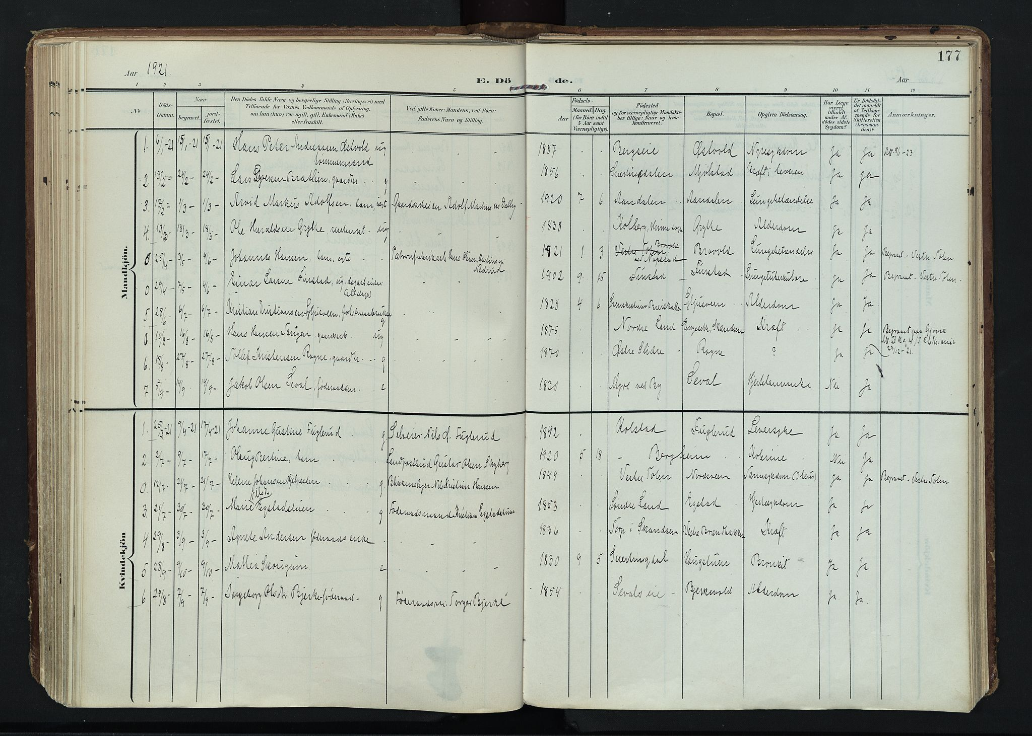 SAH, Vardal prestekontor, H/Ha/Haa/L0020: Ministerialbok nr. 20, 1907-1921, s. 177
