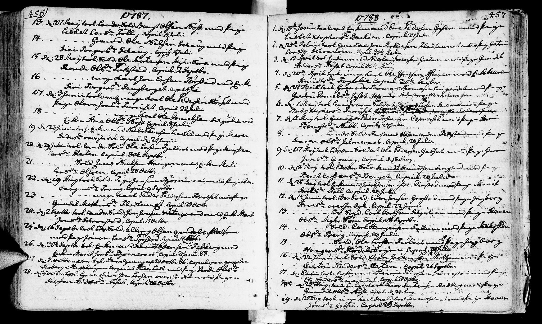 SAT, Ministerialprotokoller, klokkerbøker og fødselsregistre - Sør-Trøndelag, 646/L0605: Ministerialbok nr. 646A03, 1751-1790, s. 456-457