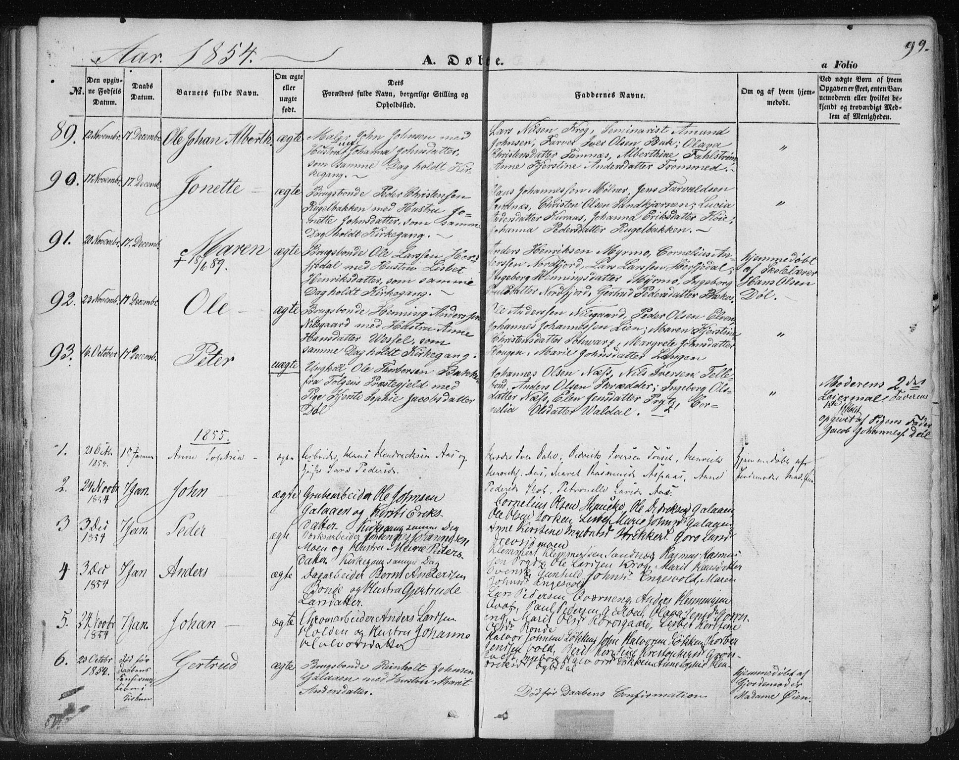 SAT, Ministerialprotokoller, klokkerbøker og fødselsregistre - Sør-Trøndelag, 681/L0931: Ministerialbok nr. 681A09, 1845-1859, s. 99