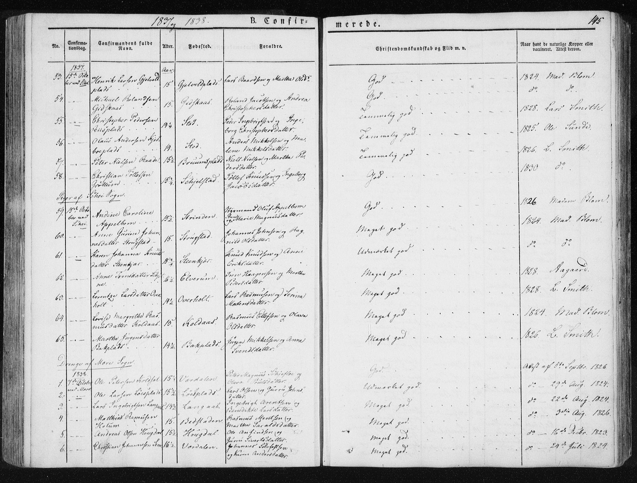 SAT, Ministerialprotokoller, klokkerbøker og fødselsregistre - Nord-Trøndelag, 735/L0339: Ministerialbok nr. 735A06 /1, 1836-1848, s. 145