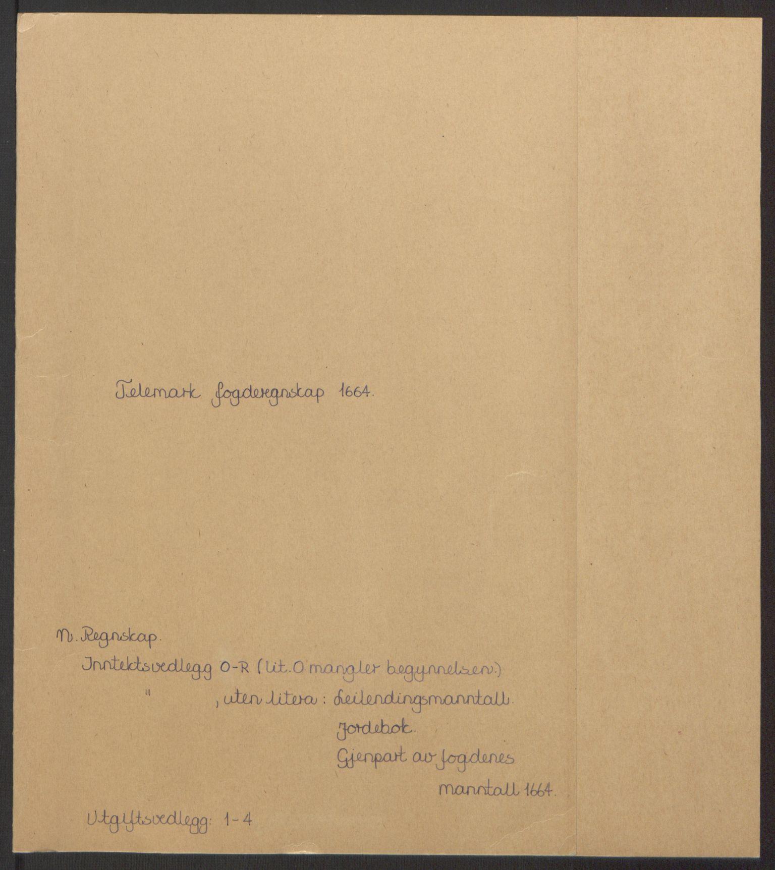 RA, Rentekammeret inntil 1814, Reviderte regnskaper, Fogderegnskap, R35/L2055: Fogderegnskap Øvre og Nedre Telemark, 1664, s. 2