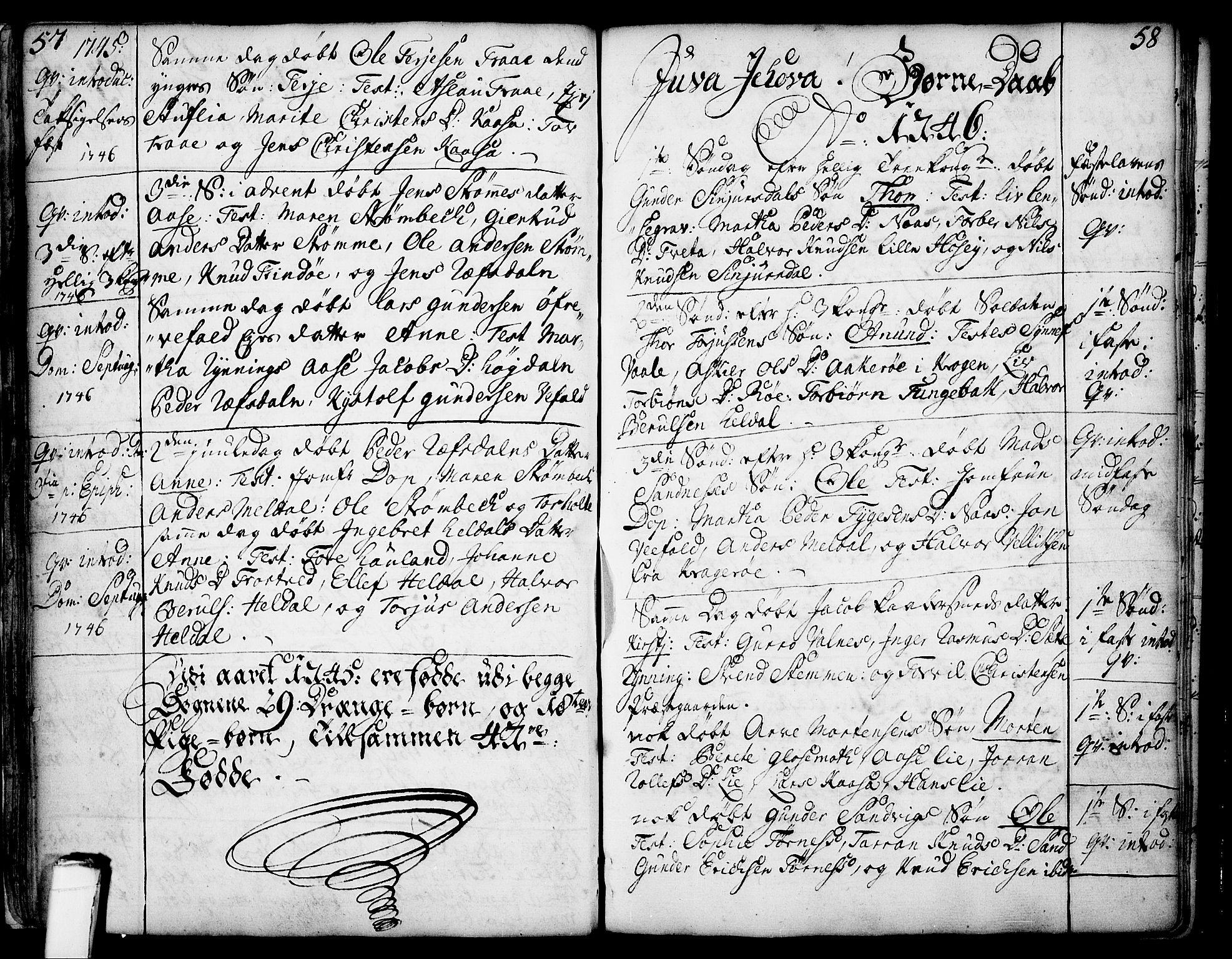 SAKO, Drangedal kirkebøker, F/Fa/L0002: Ministerialbok nr. 2, 1733-1753, s. 57-58