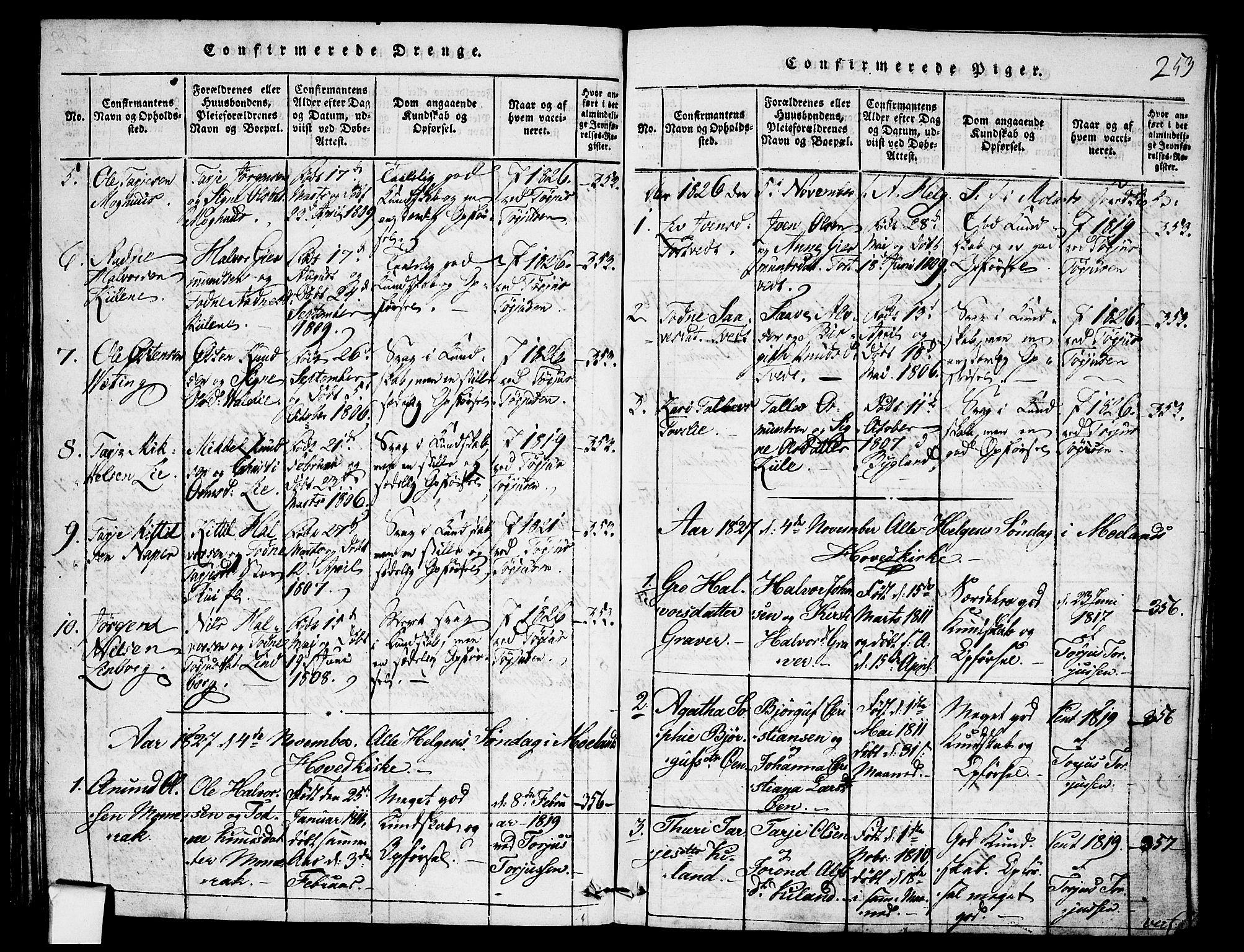 SAKO, Fyresdal kirkebøker, F/Fa/L0003: Ministerialbok nr. I 3, 1815-1840, s. 253
