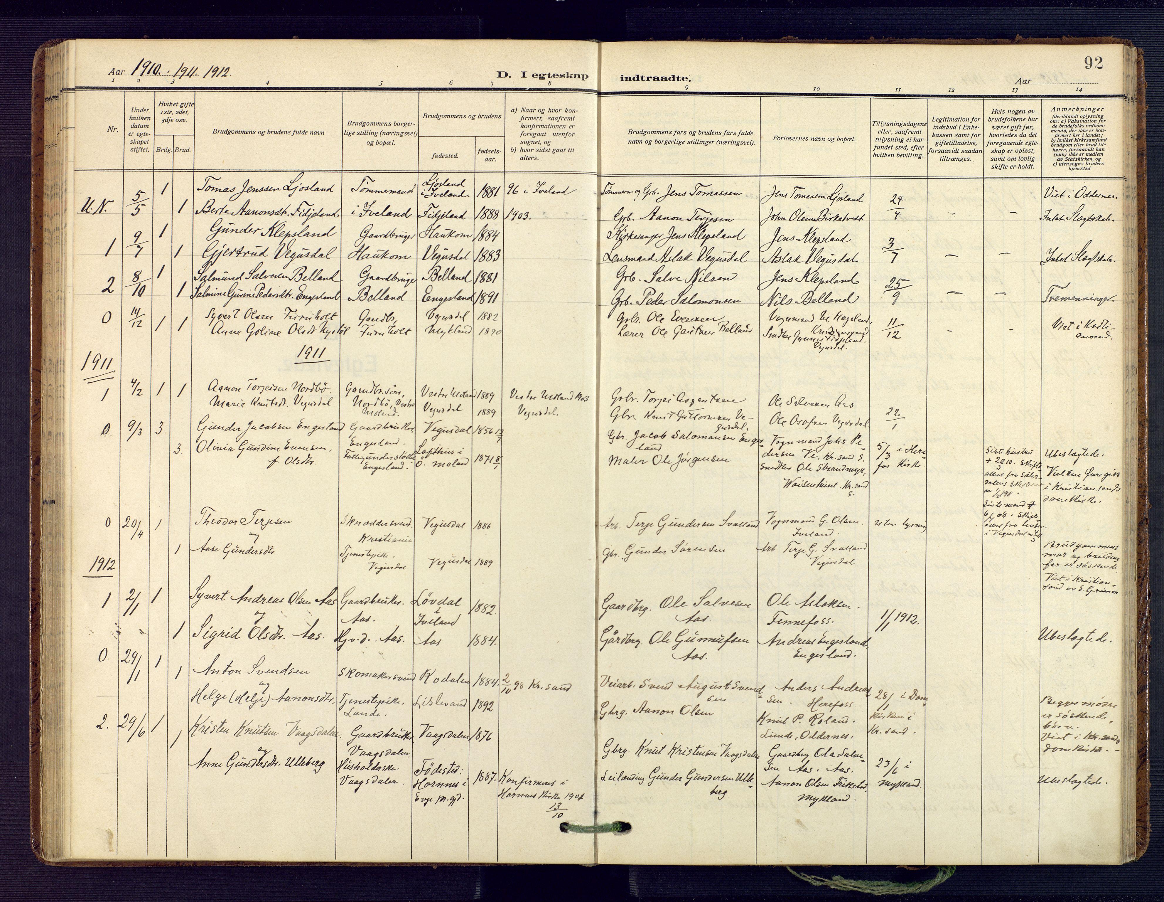 SAK, Herefoss sokneprestkontor, F/Fa/Fab/L0005: Ministerialbok nr. A 5, 1910-1932, s. 92