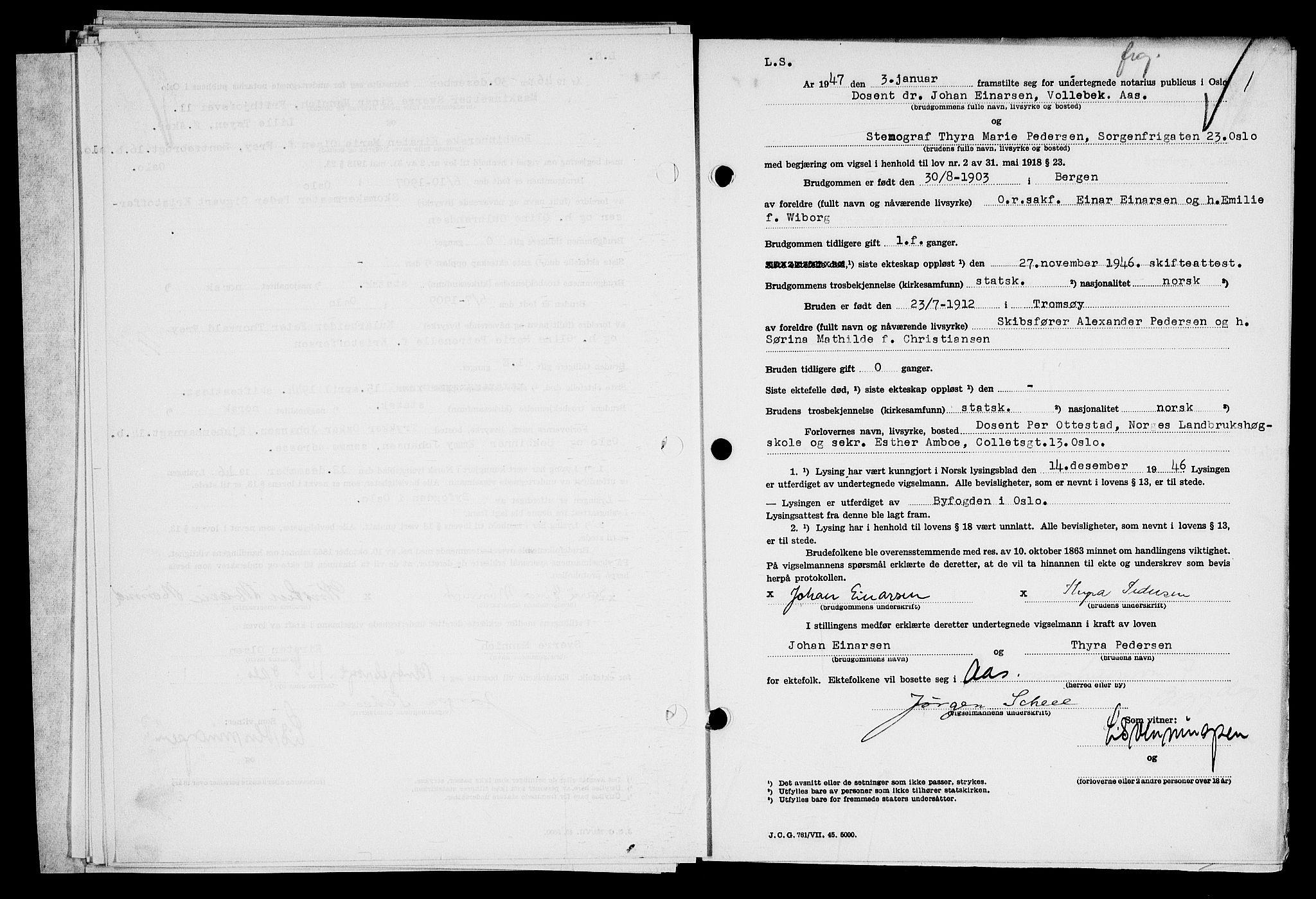 SAO, Oslo byfogd avd. I, L/Lb/Lbb/L0058: Notarialprotokoll, rekke II: Vigsler, 1946-1947, s. upaginert